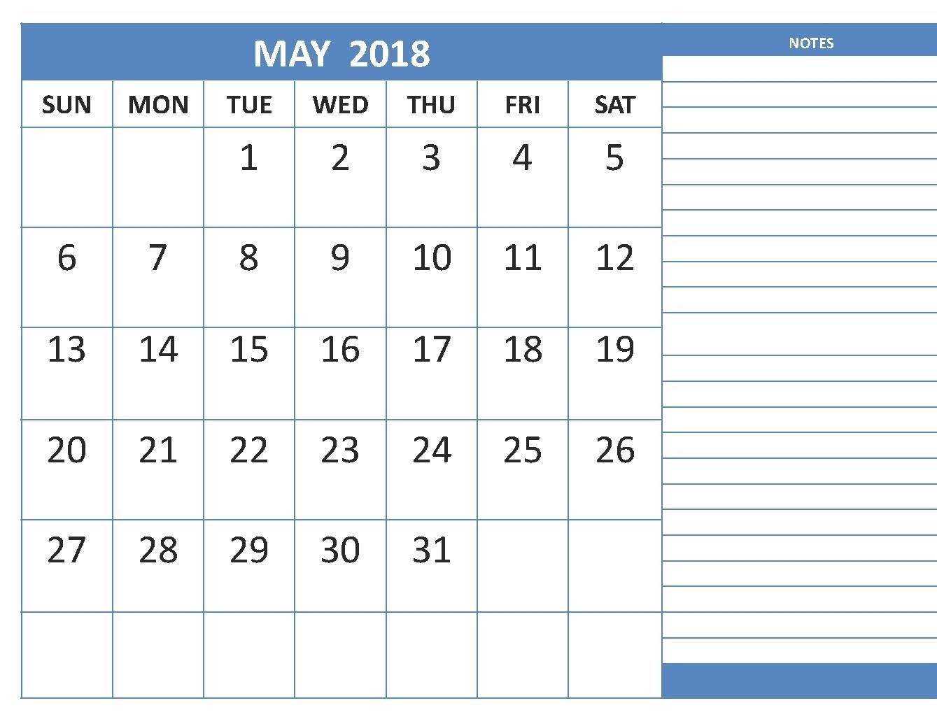 Printable Calendar Room For Notes | Printable Calendar 2019