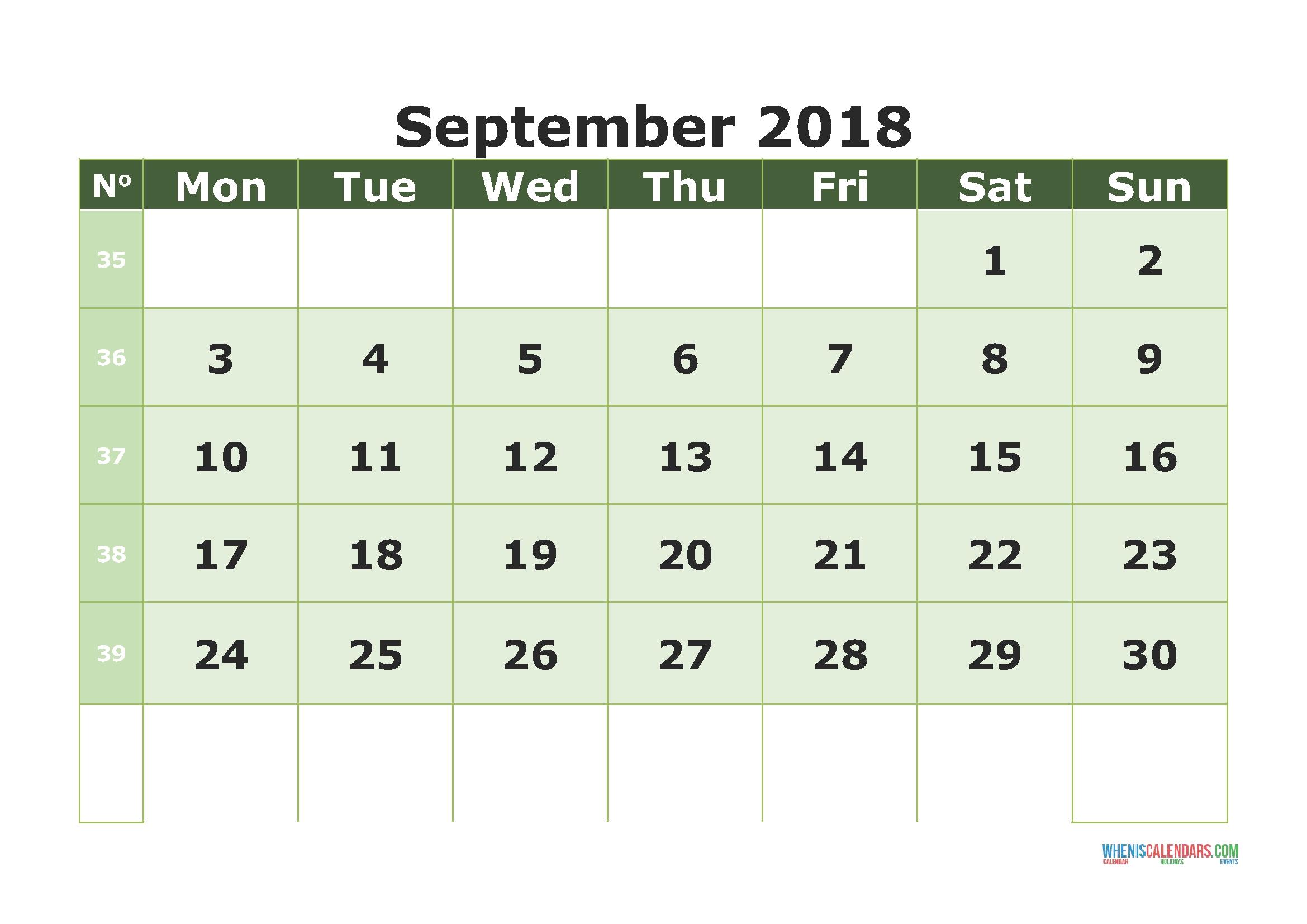 Printable Calendar September 2018 With Week Numbers (Monday