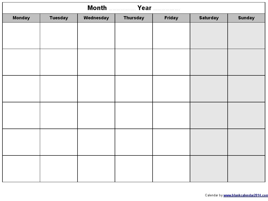 Printable Calendar Starting With Monday | Printable Calendar