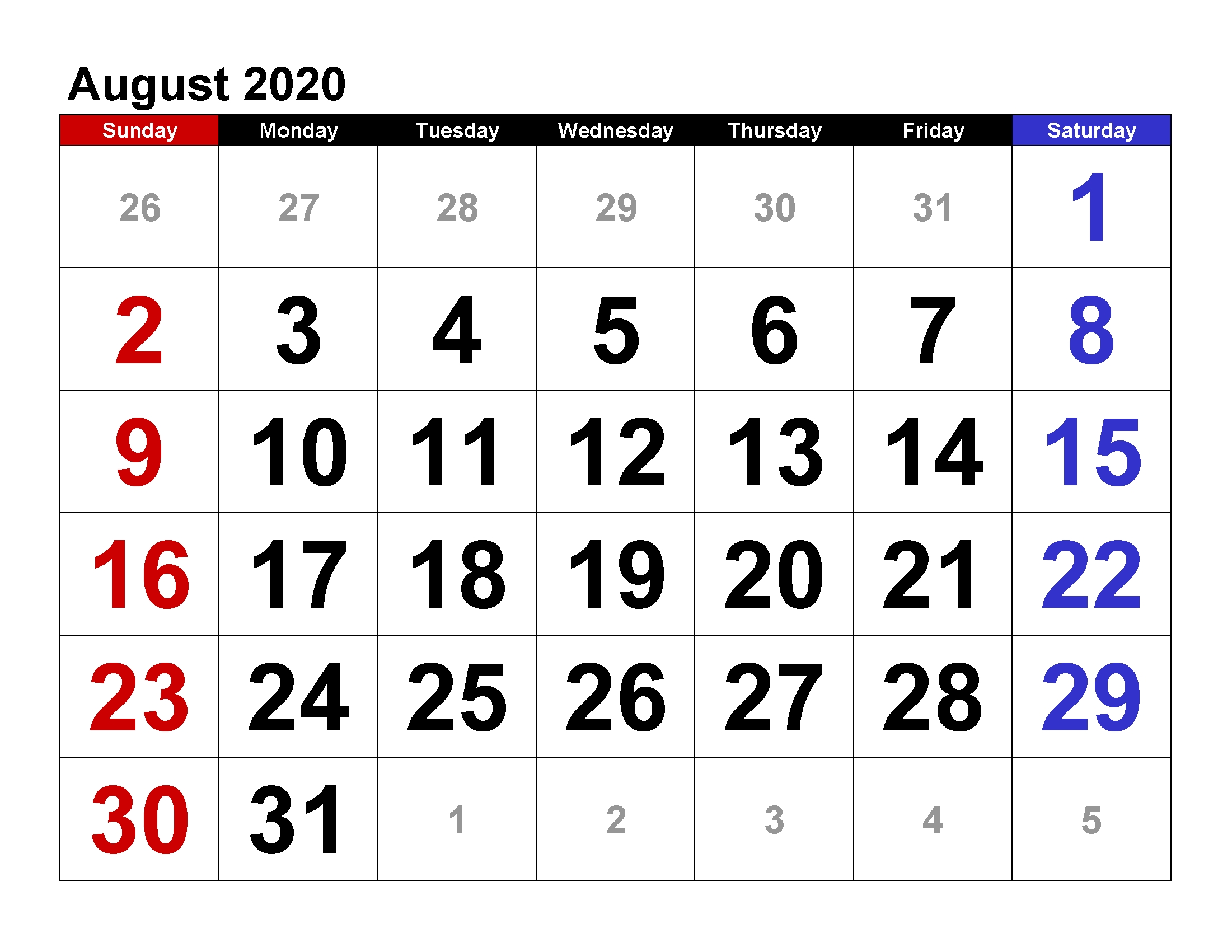 Printable Calendar Template August 2020 Calendar Large