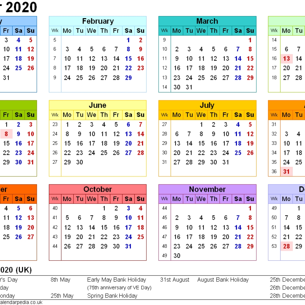 Printable Calendar Uk 2020 | Avnitasoni