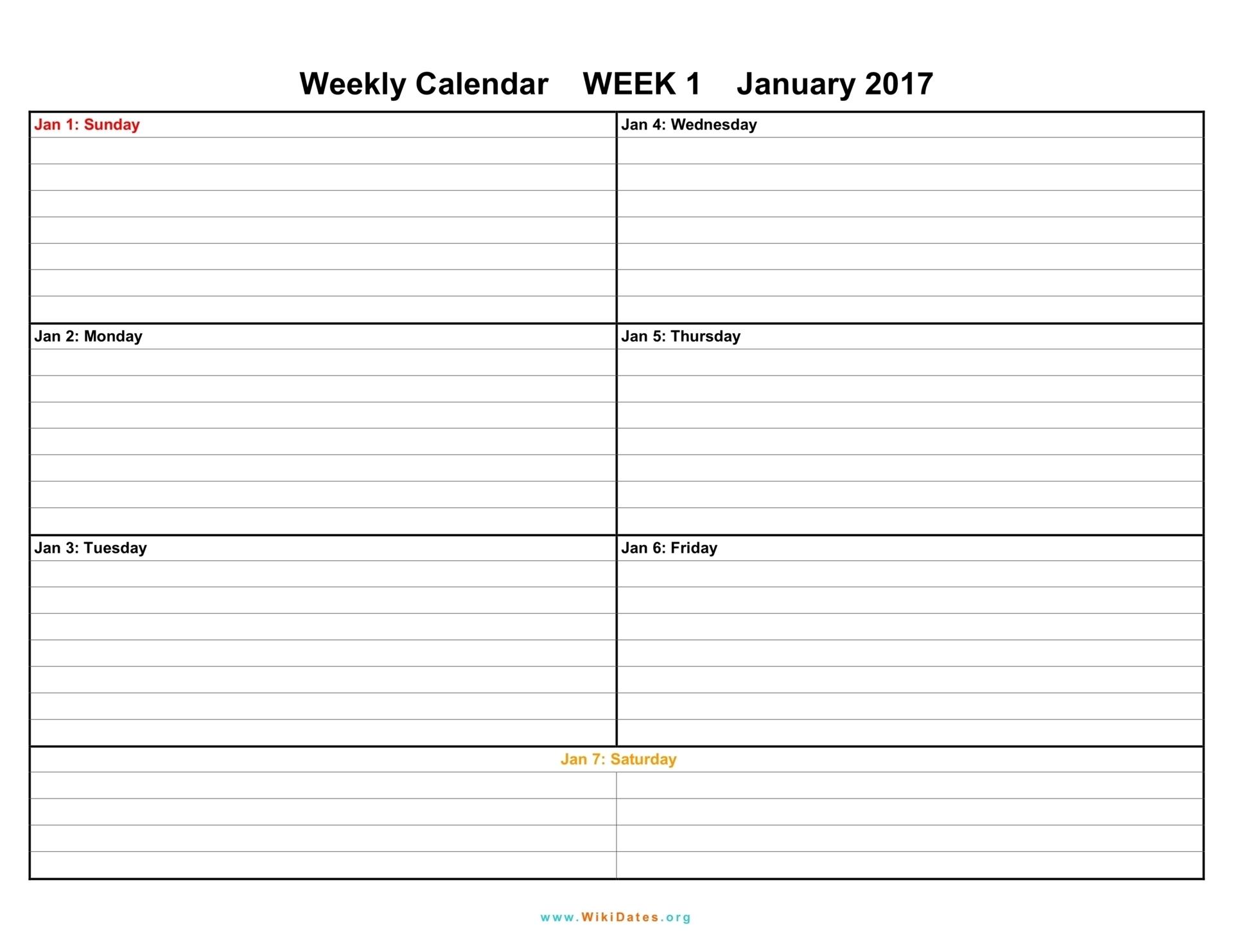Printable Calendar Weekly 2018 | Printable Calendar 2020