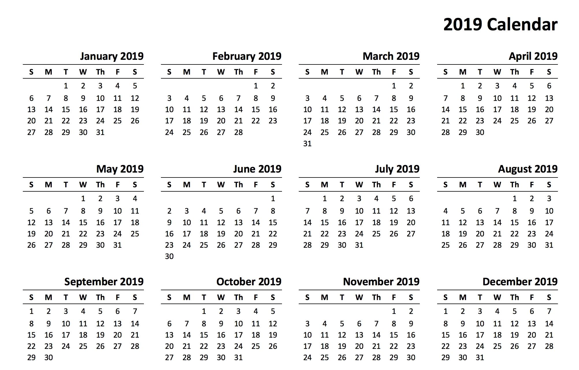 Printable Calendar Year 2019 | Printable Calendar 2020