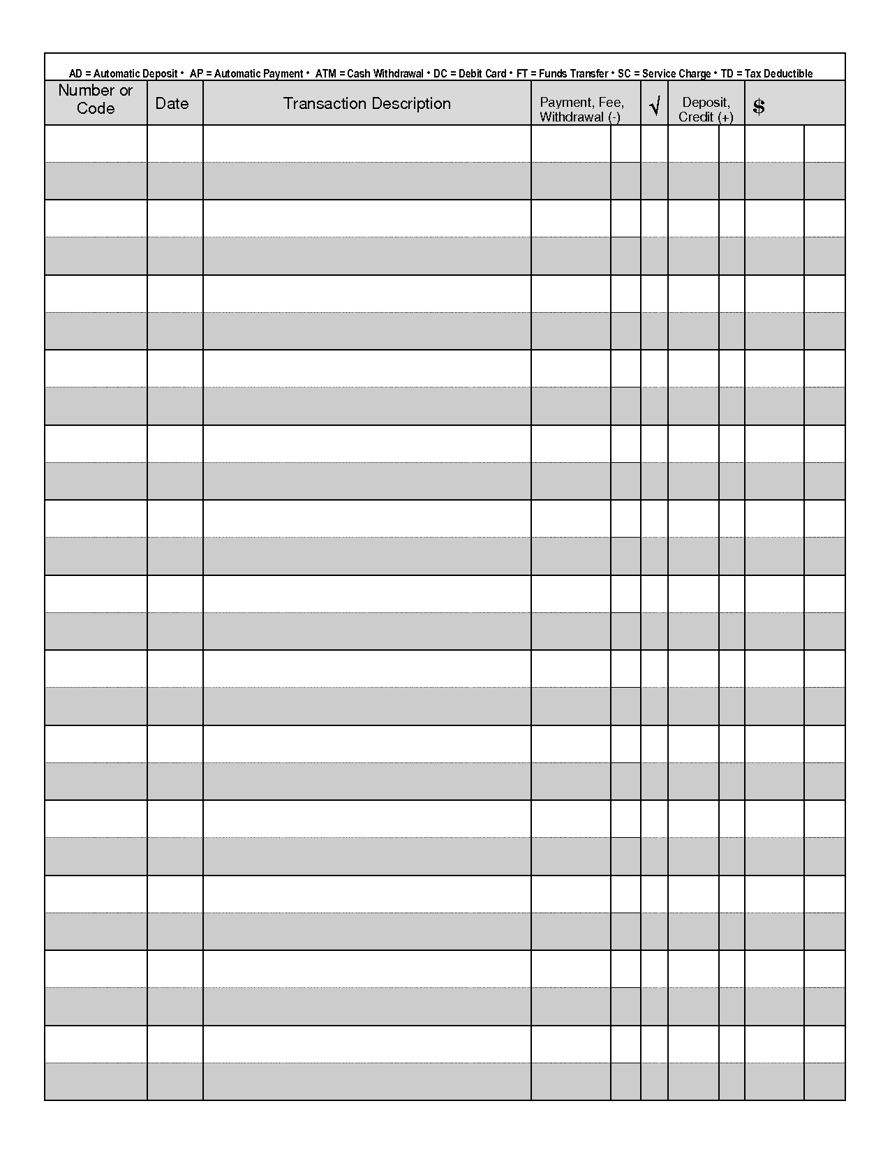 Printable Check Register - When You Are Searching For
