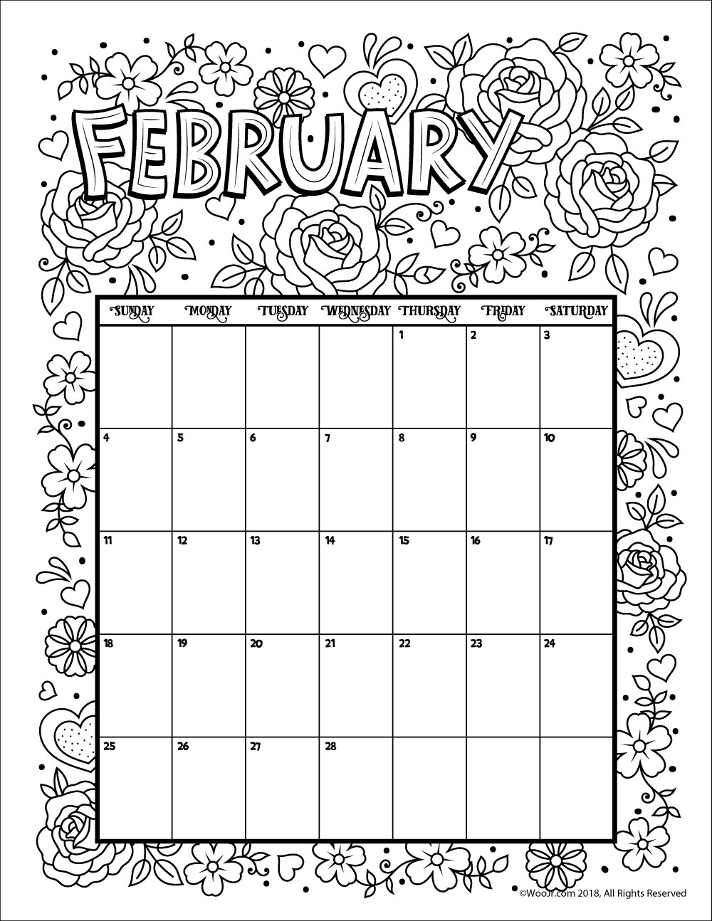 Printable Coloring Calendar For 2020 (And 2019!) | Woo! Jr