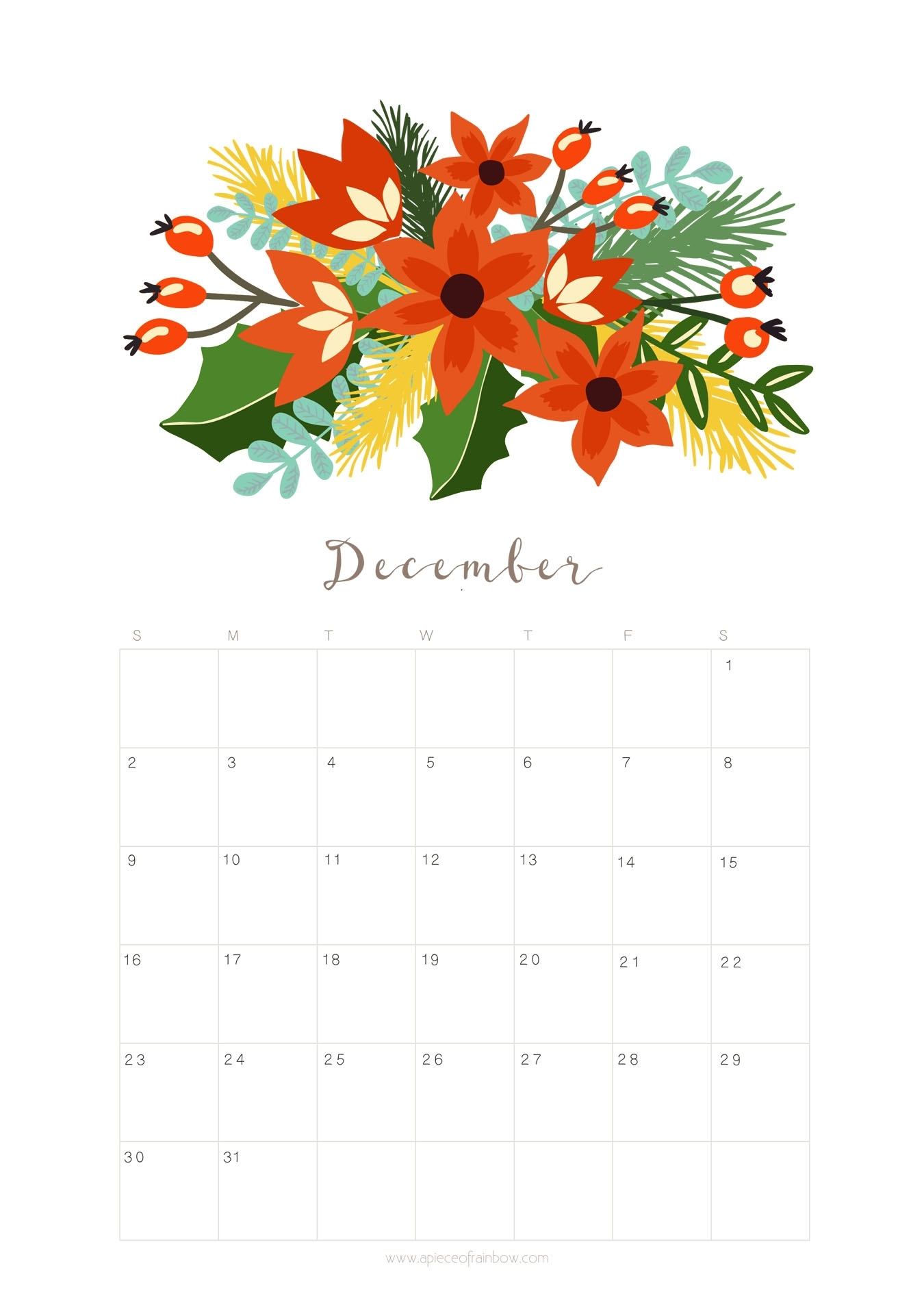Printable December 2018 Calendar Monthly Planner - Floral