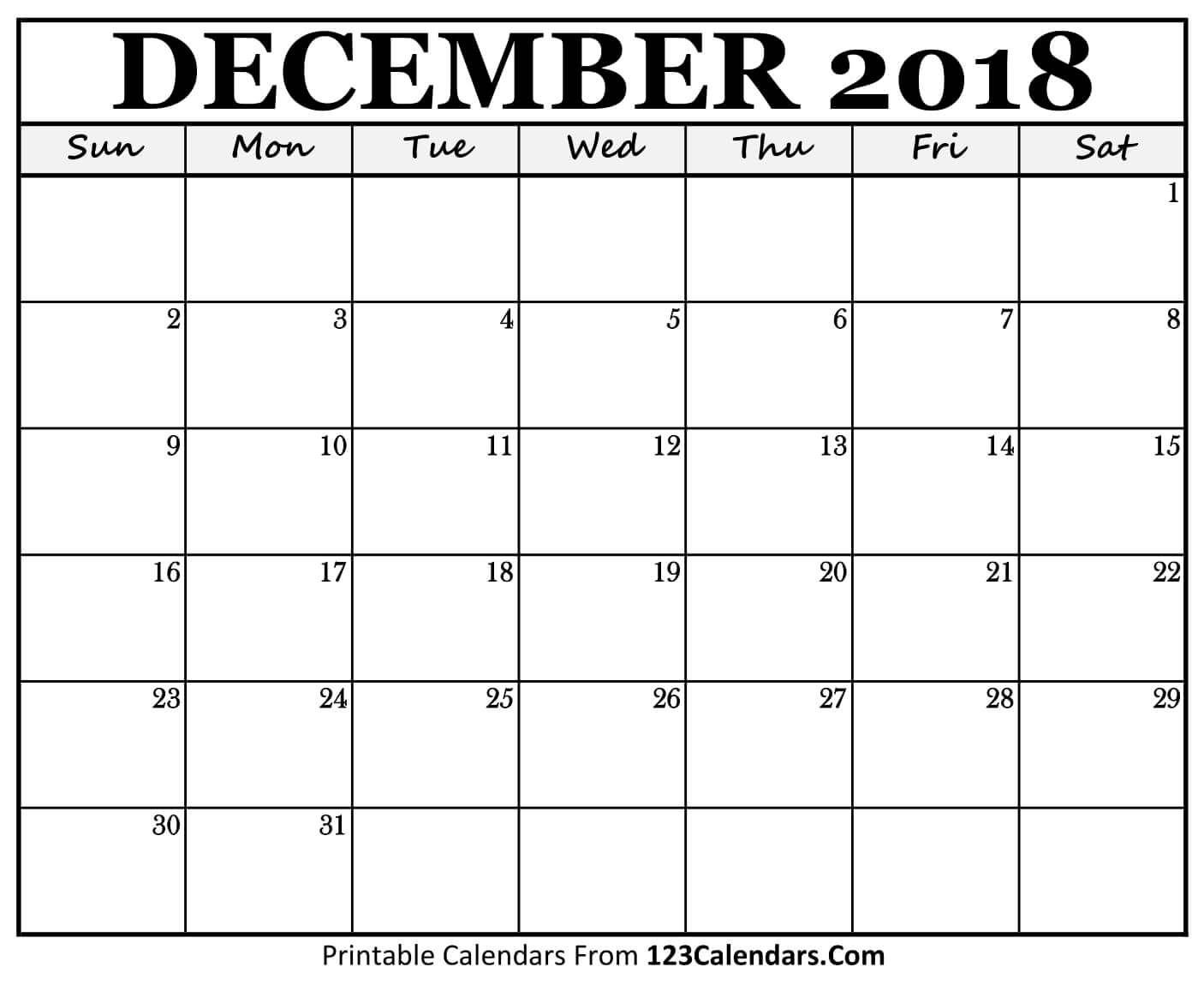 Printable December 2018 Calendar Templates - 123Calendars