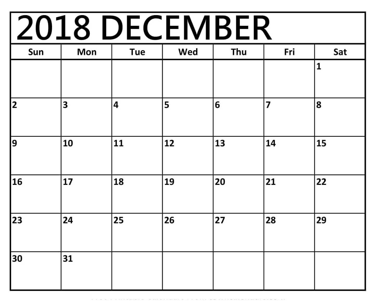 Printable December 2018 Calendar Word - Printable December
