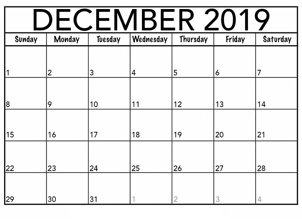 Printable December 2019 Calendar Template | 12 Month