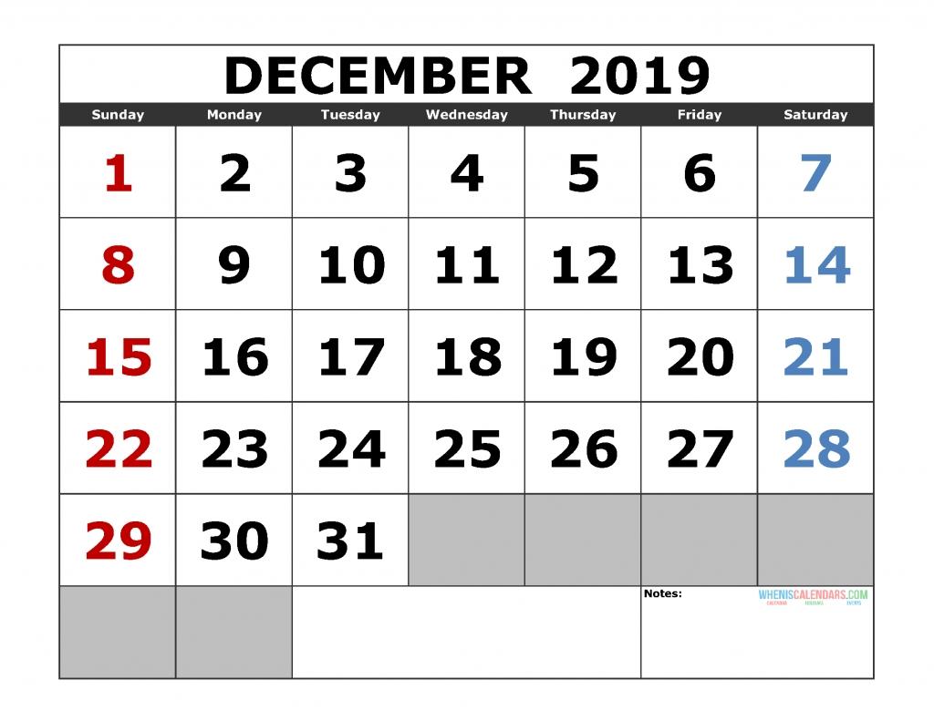Printable December 2019 Calendar Template, Landscape Format