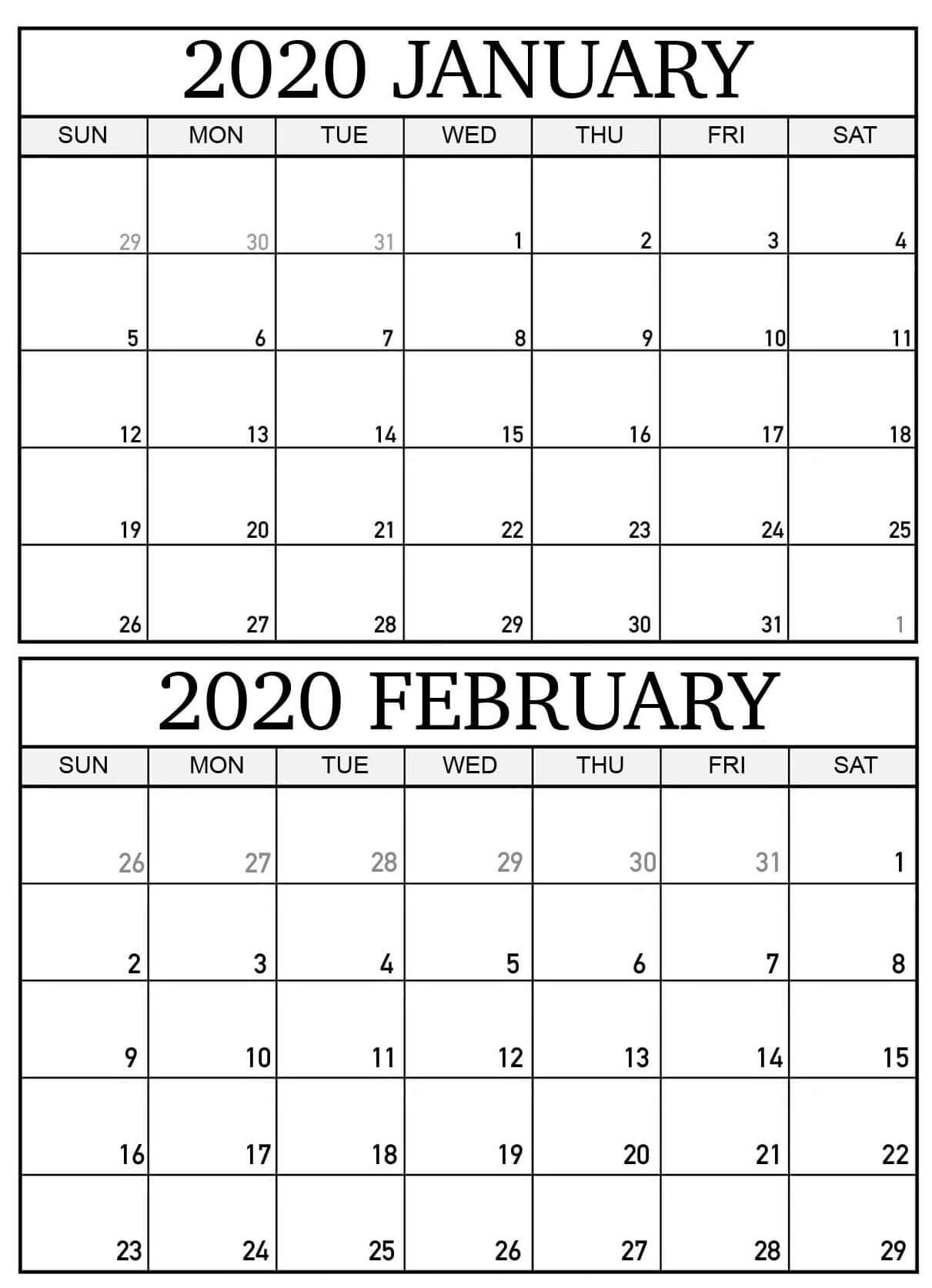 Printable February 2020 Calendar Word - Blank 2020 January
