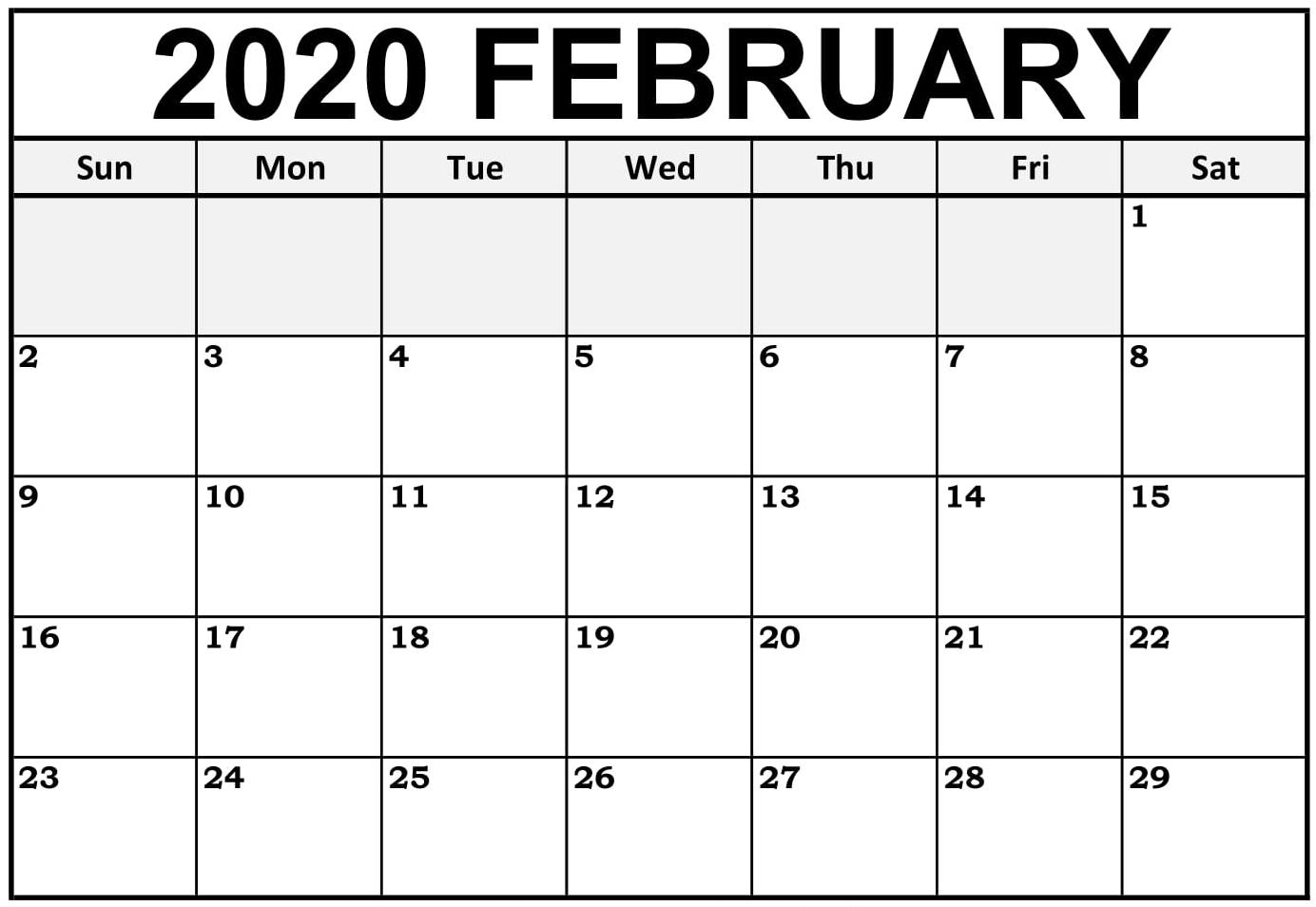Printable February Calendar For 2020 – Waterproof Paper | 12