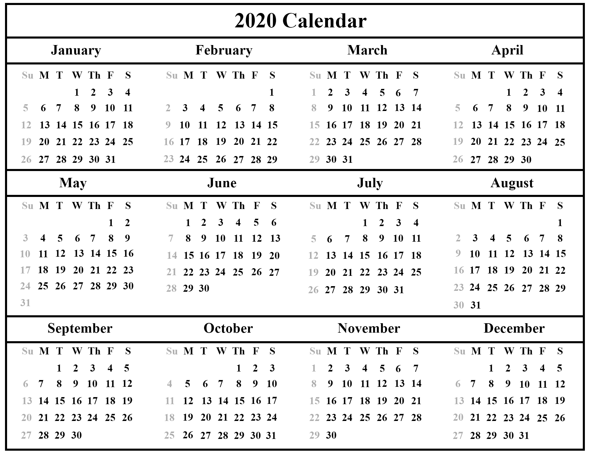 Printable February Calendar Template