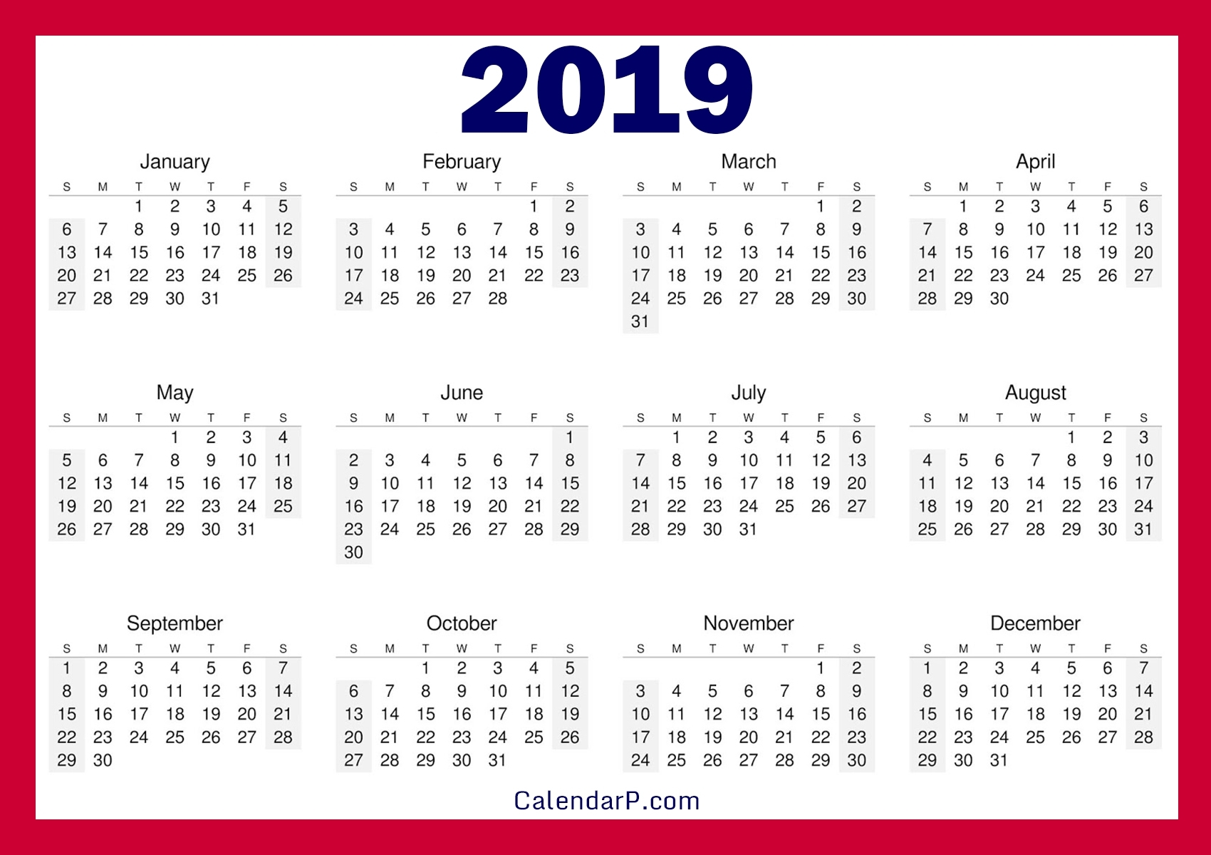 Printable Free 2019 Calendar, Horizontal – Calendarp