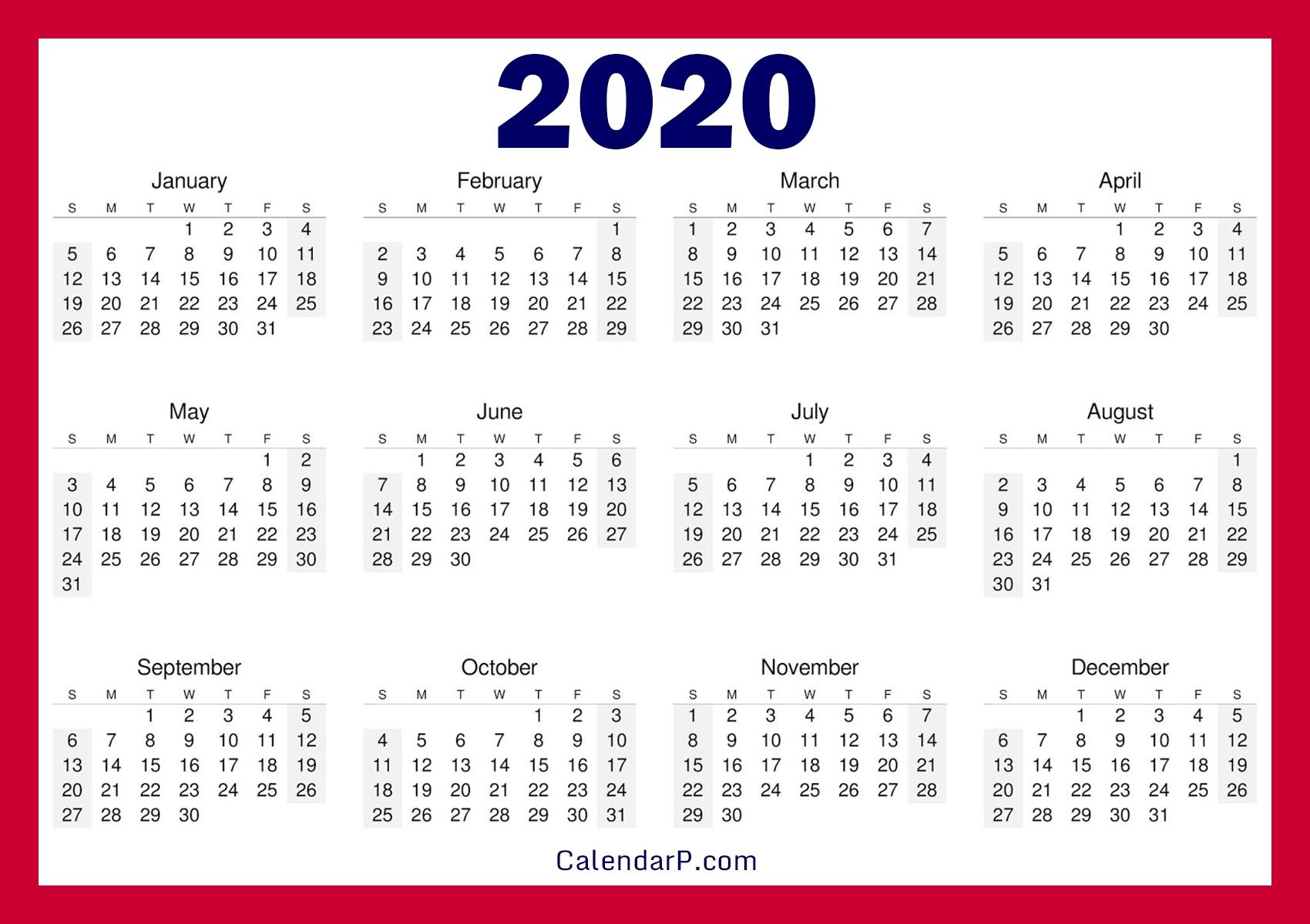 Printable Free 2020 Calendar, Horizontal, Red – Calendarp