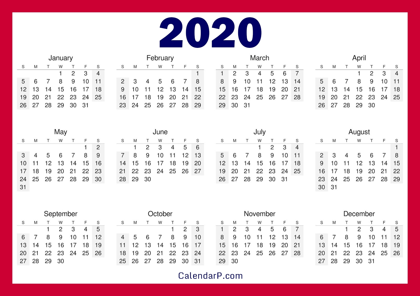 Printable Free 2020 Calendar, Horizontal, Red – Calendarp