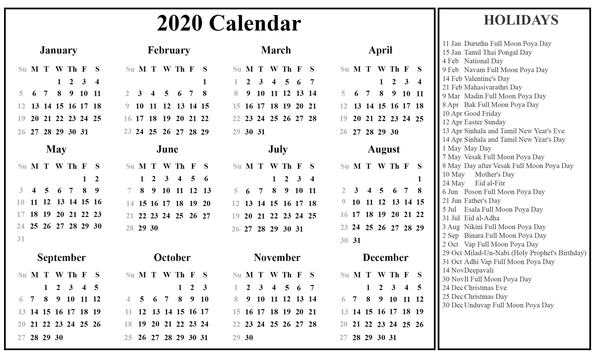 Printable Free Download Sri Lanka Calendar 2020 [Pdf, Excel