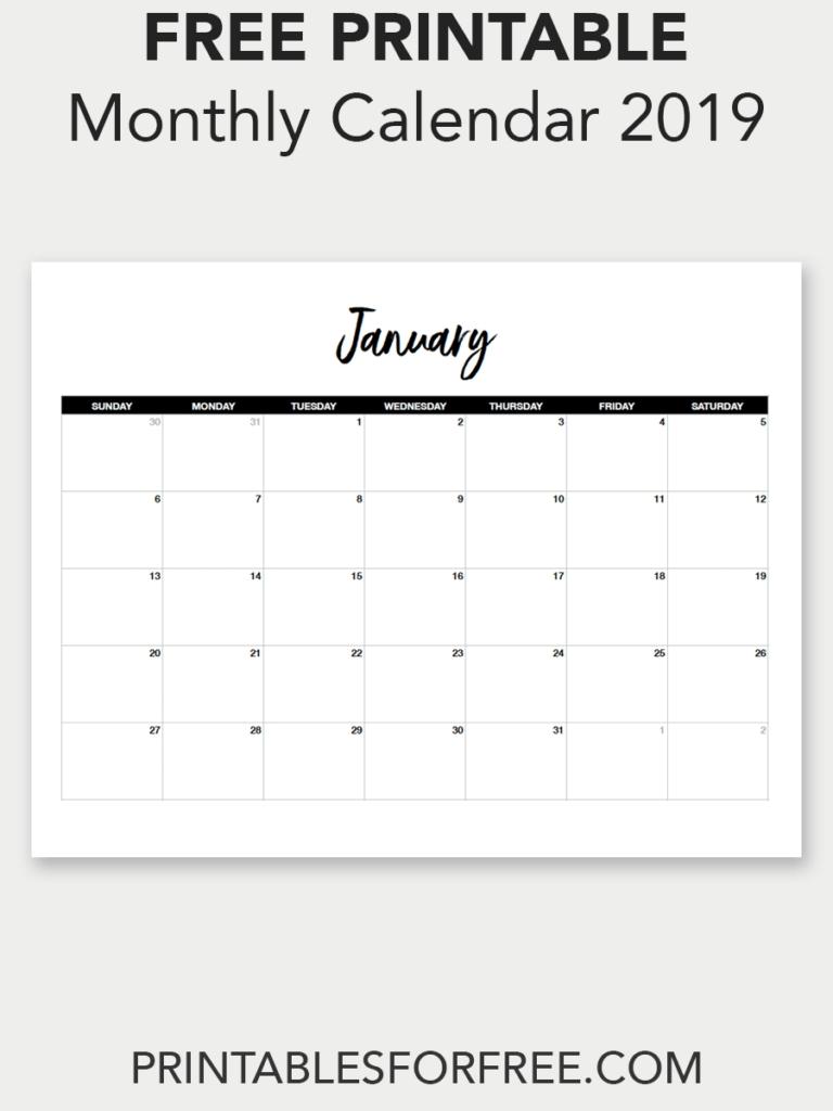 Printable January 2019 Calendar (Minimal   Free Printable