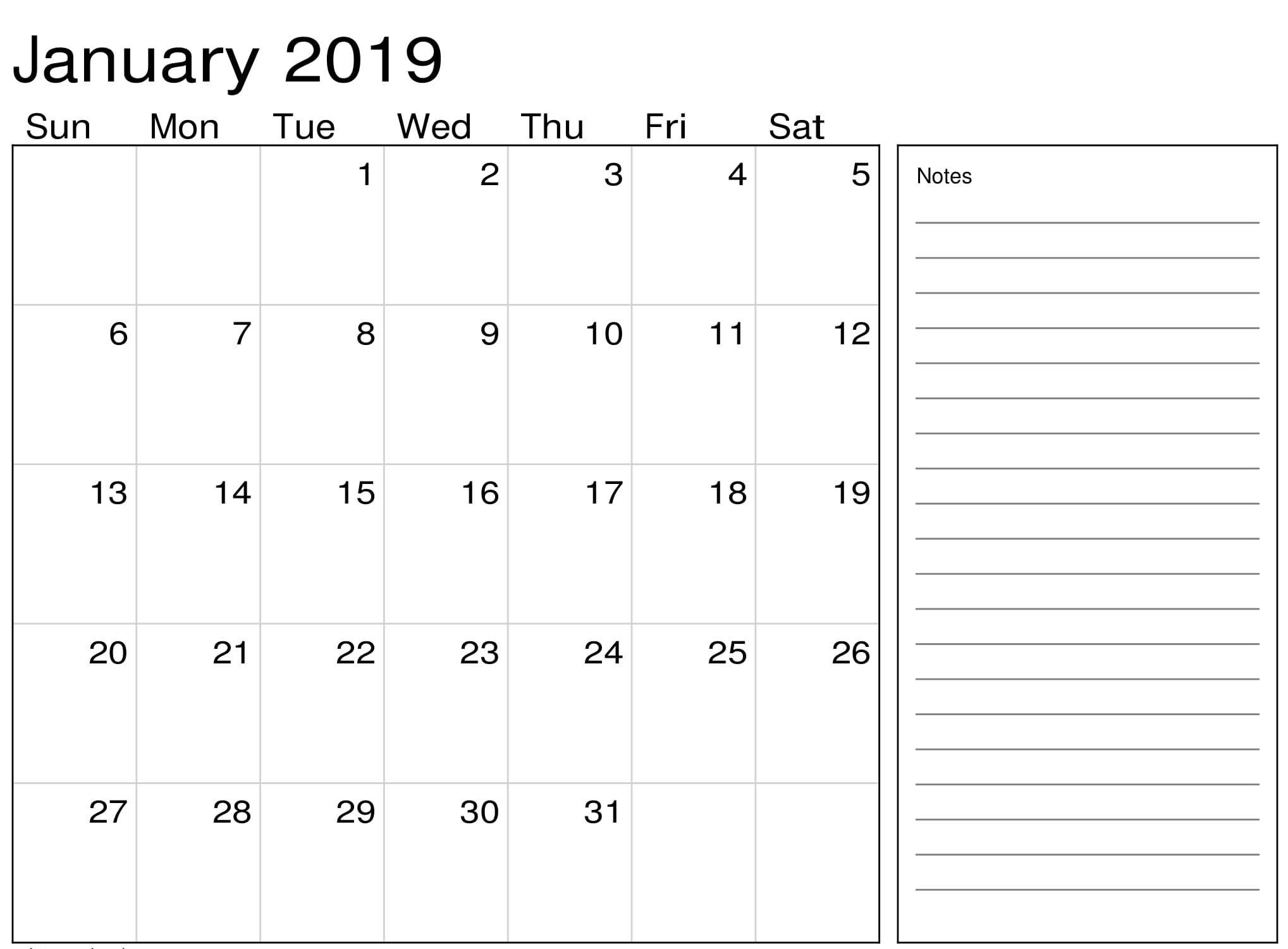Printable January 2019 Calendar Pdf Blank Template