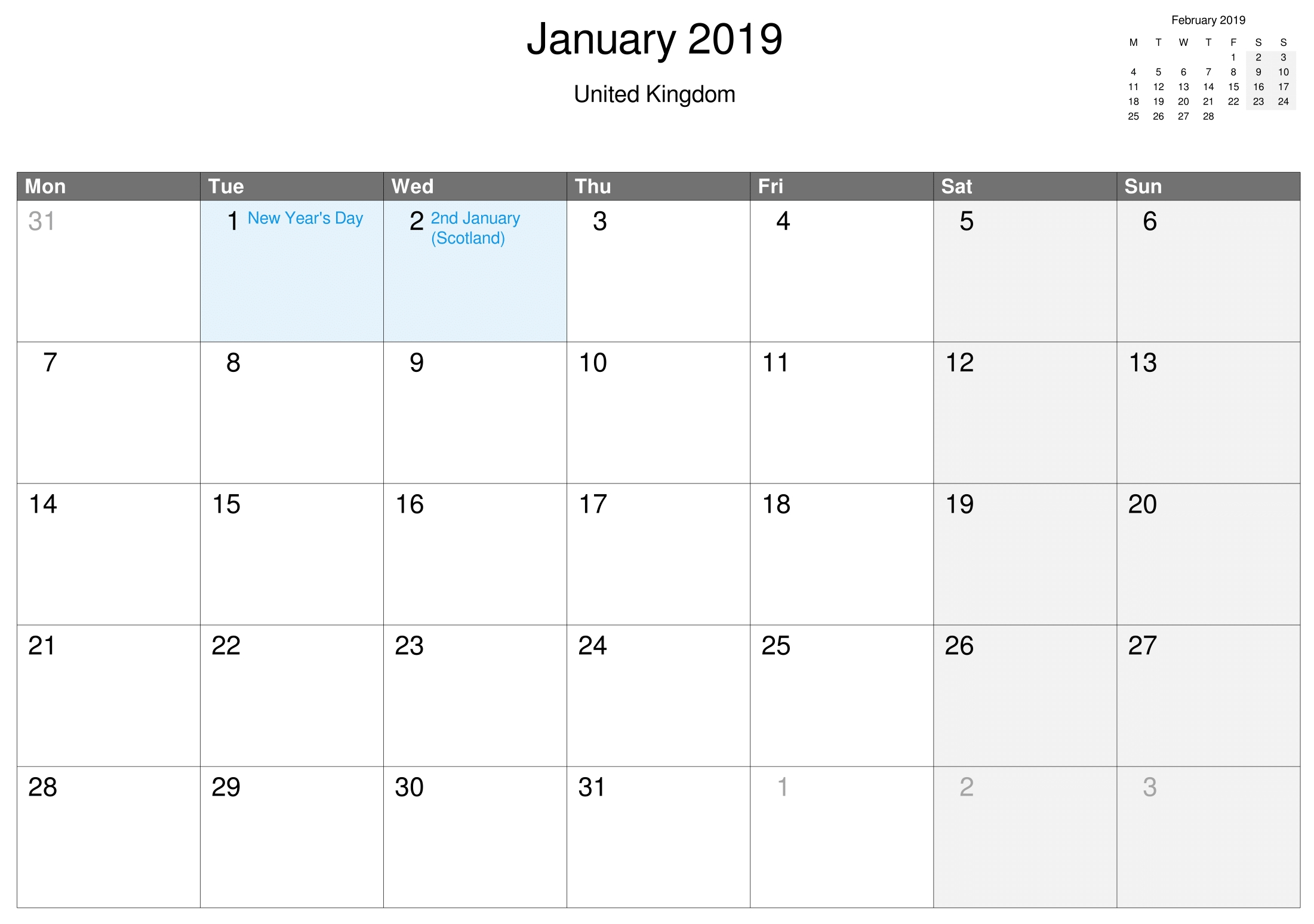 Printable January 2019 Calendar Uk | Free Printable February