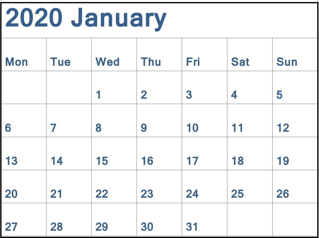 Printable January 2020 Calendar Monthly Template - Latest