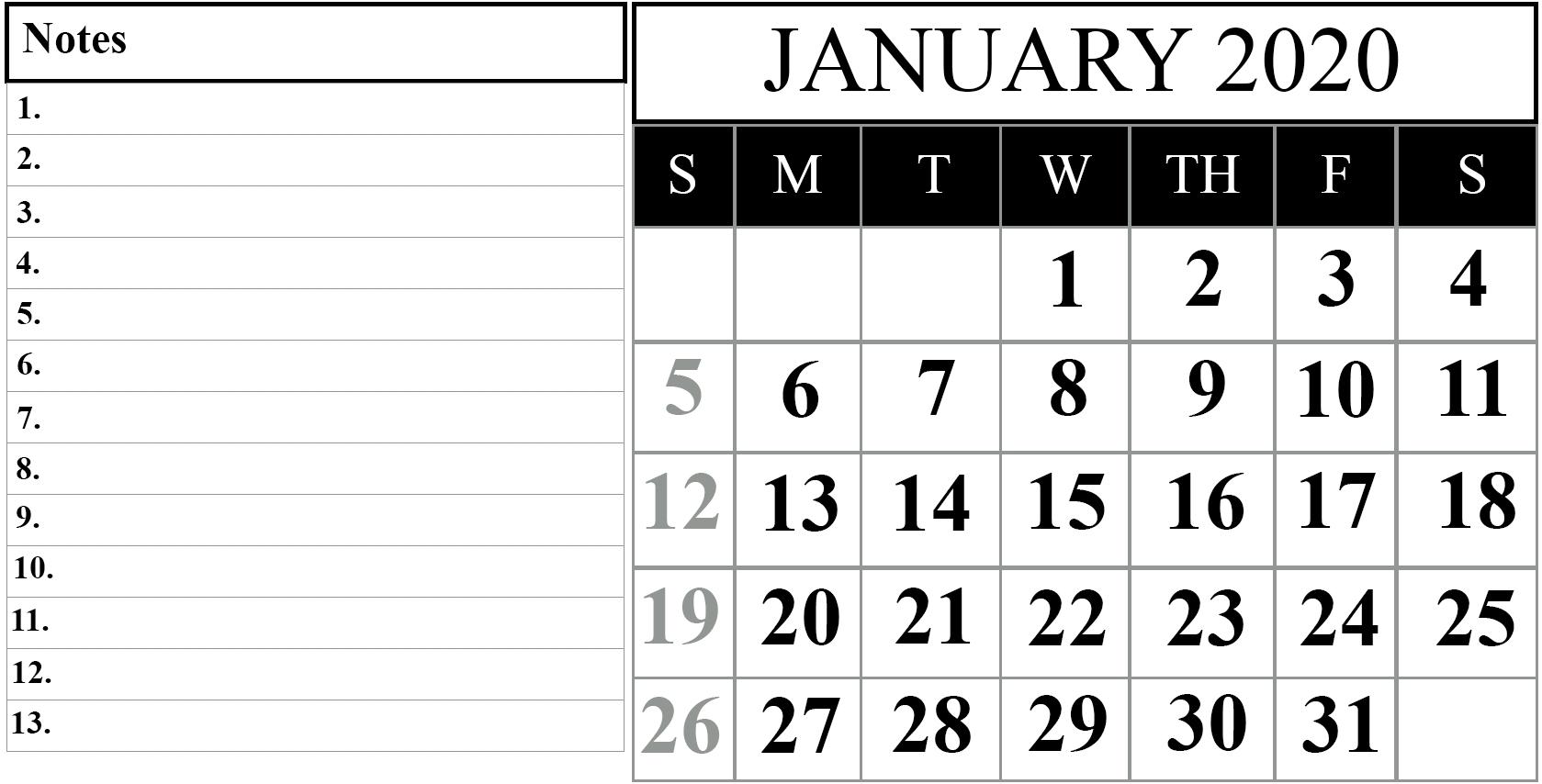 Printable January 2020 Calendar Pdf Free Download