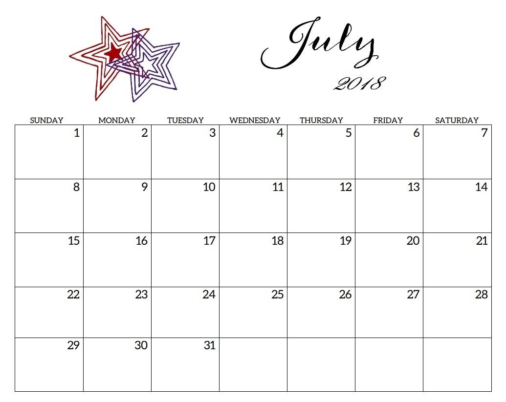 Printable July 2018 Calendar | Latest Calendar