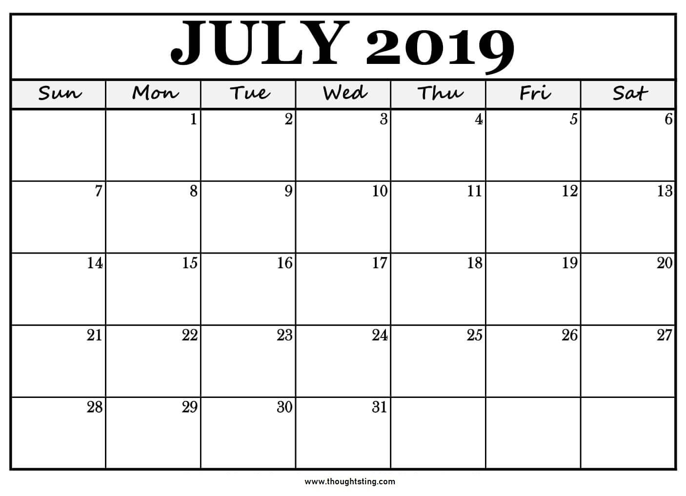 Printable July 2019 Calendar Large Boxes | July Calendar