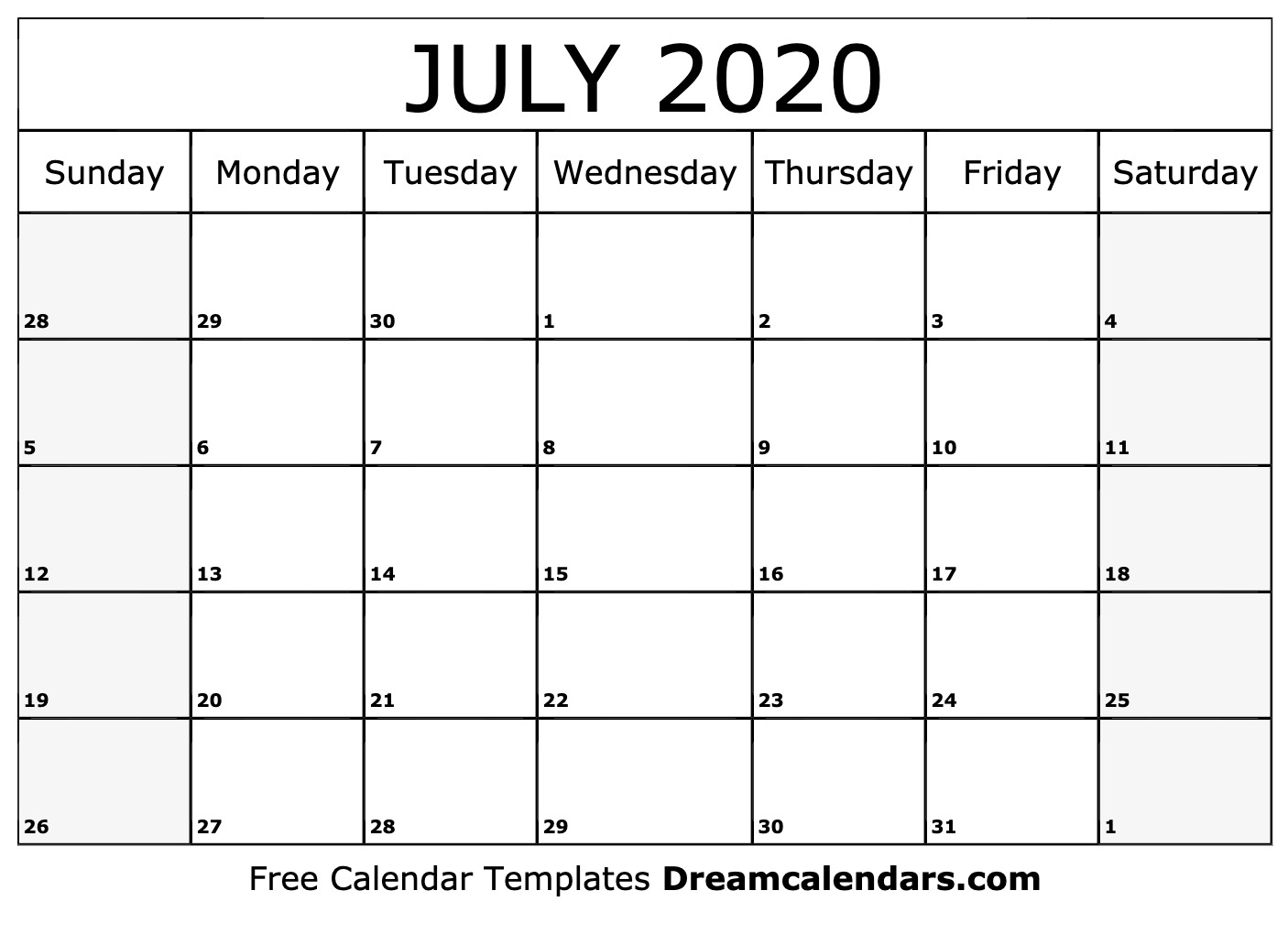 Printable July 2020 Calendar - Ko-Fi ❤️ Where Creators Get