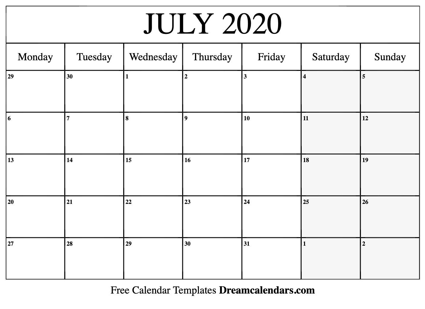 Printable July 2020 Calendar - Ko-Fi ❤️ Where Creators Get