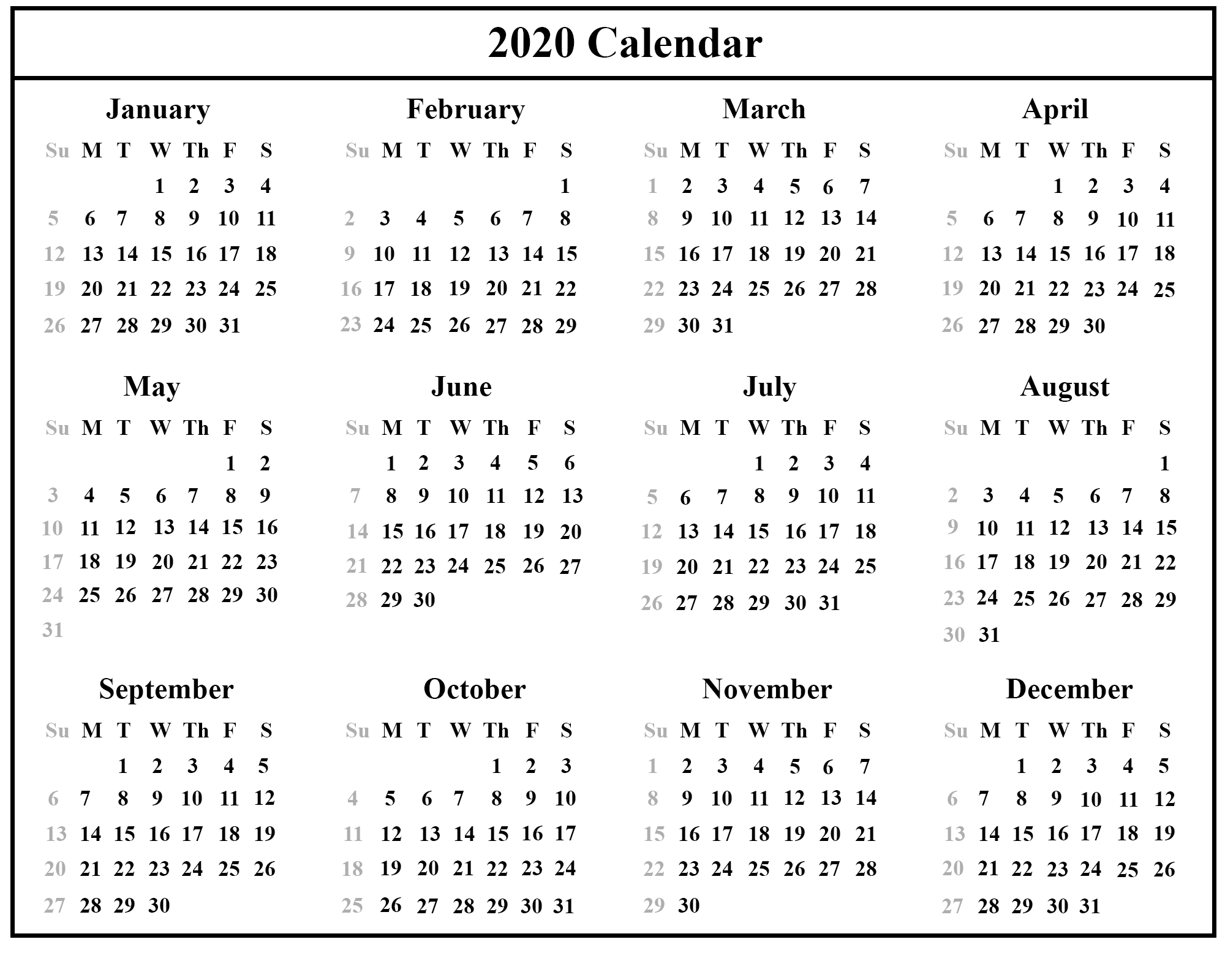 Printable July Calendar Template