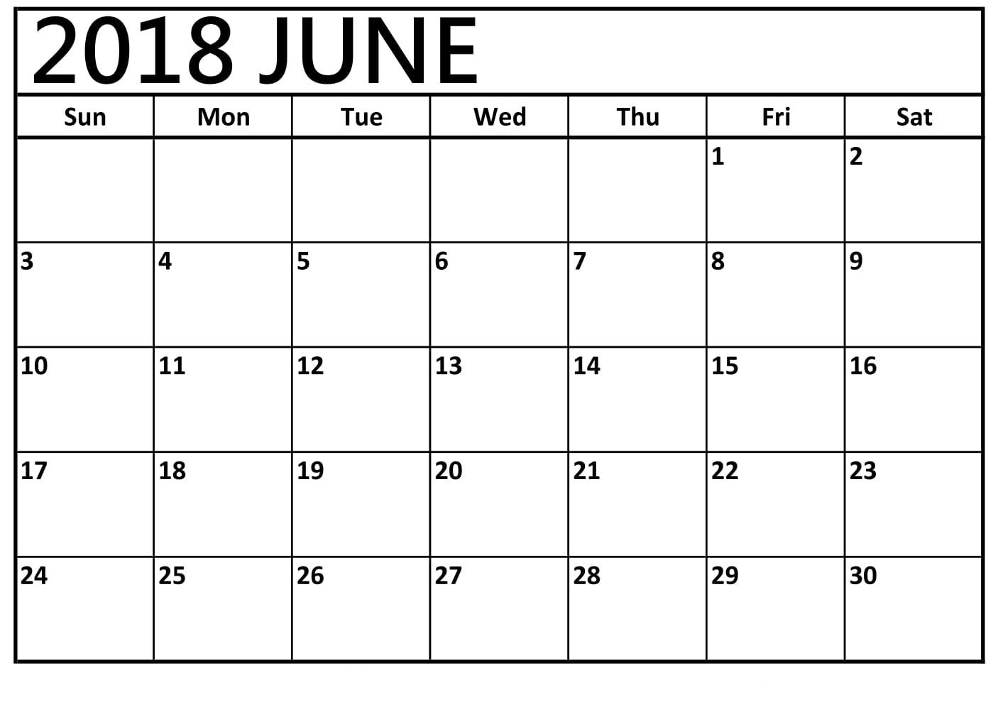 Printable June 2018 Calendar Blank - Best Calendar Printable