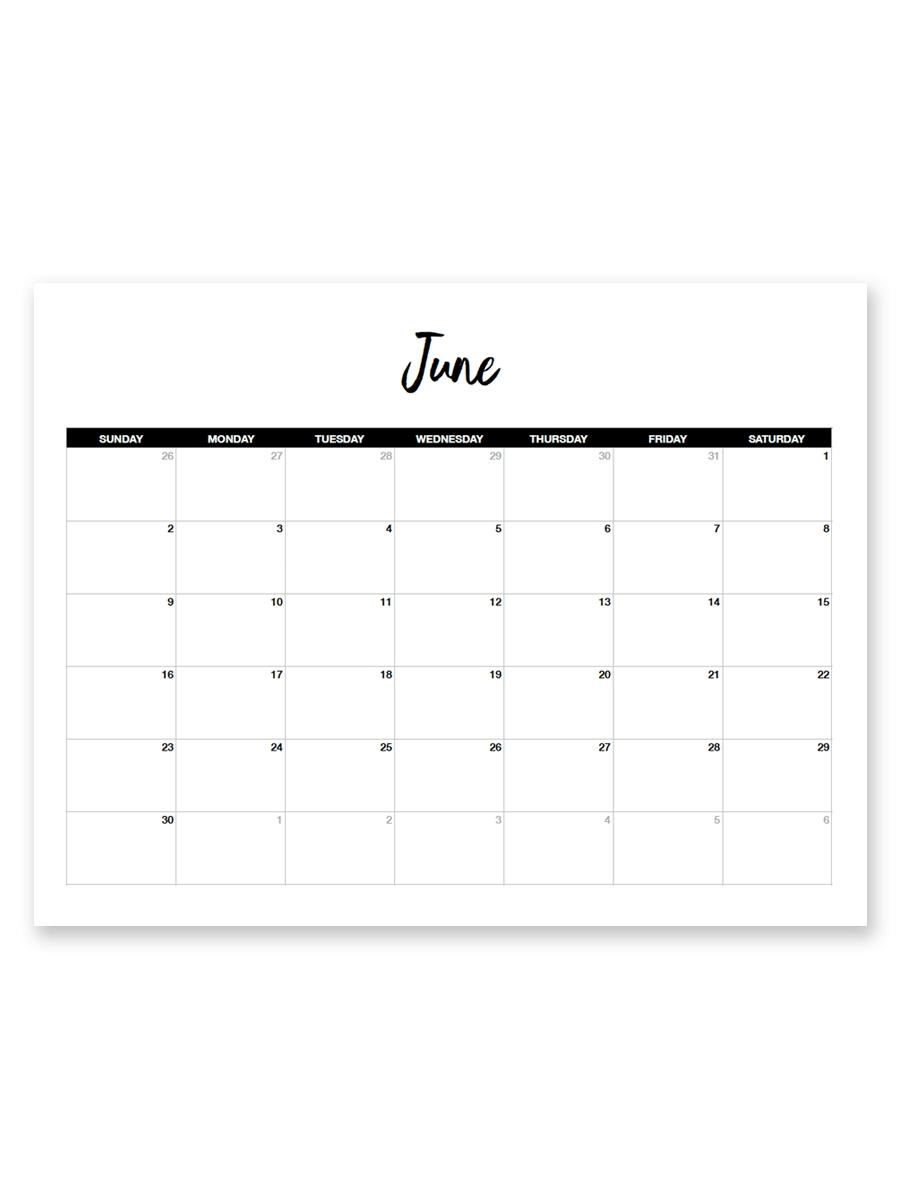Printable June 2019 Calendar (Minimal | Random | Free