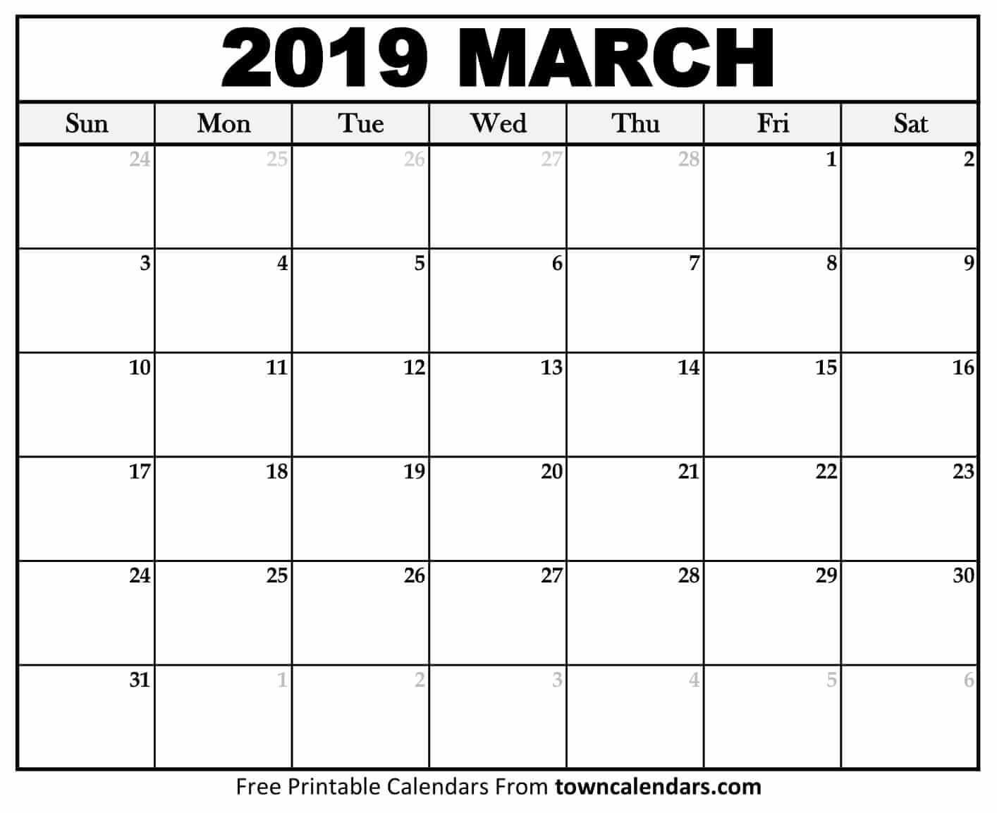Printable March 2019 Calendar – Monthly Template Download