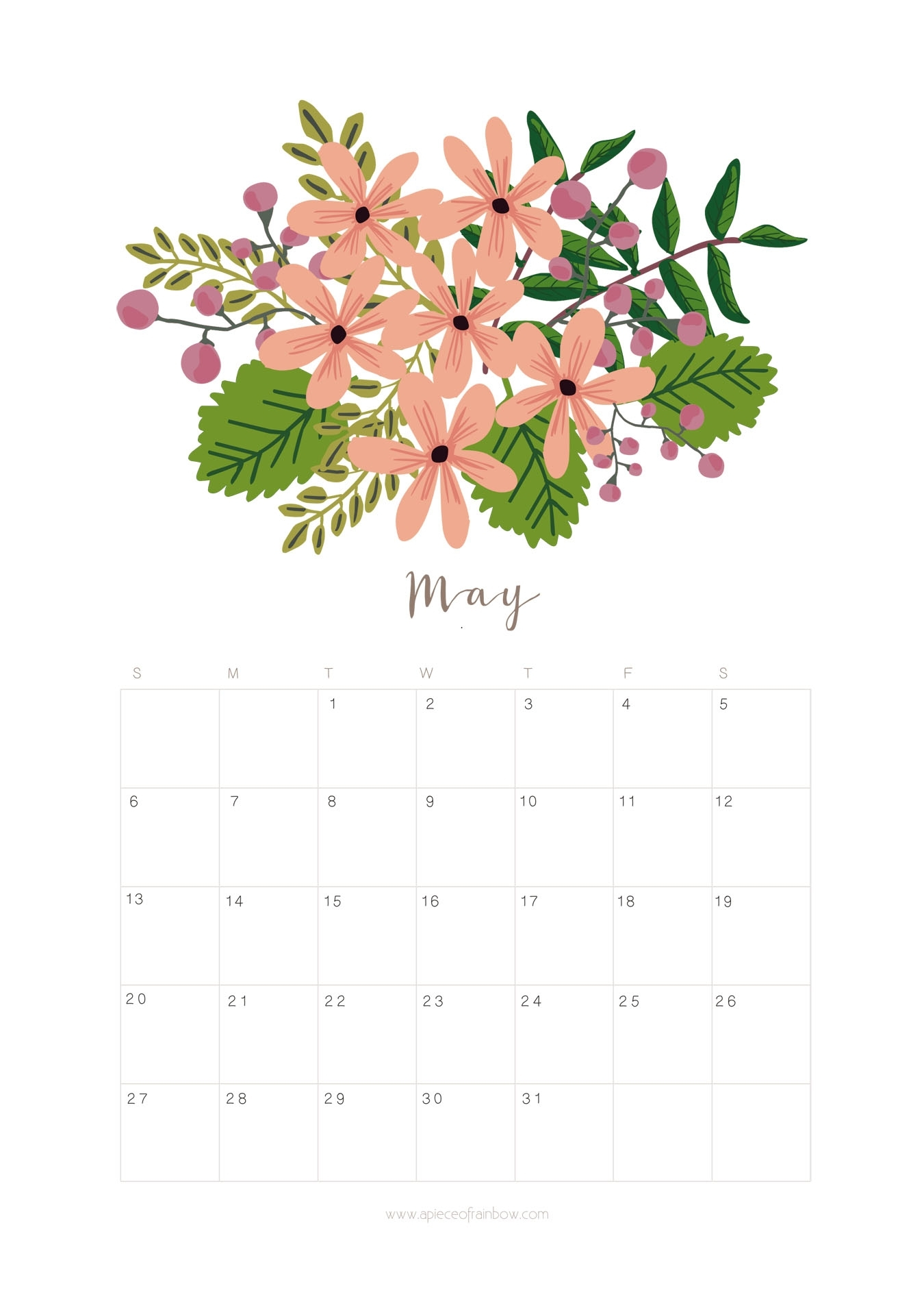 Printable May 2018 Calendar Monthly Planner - Flower Design