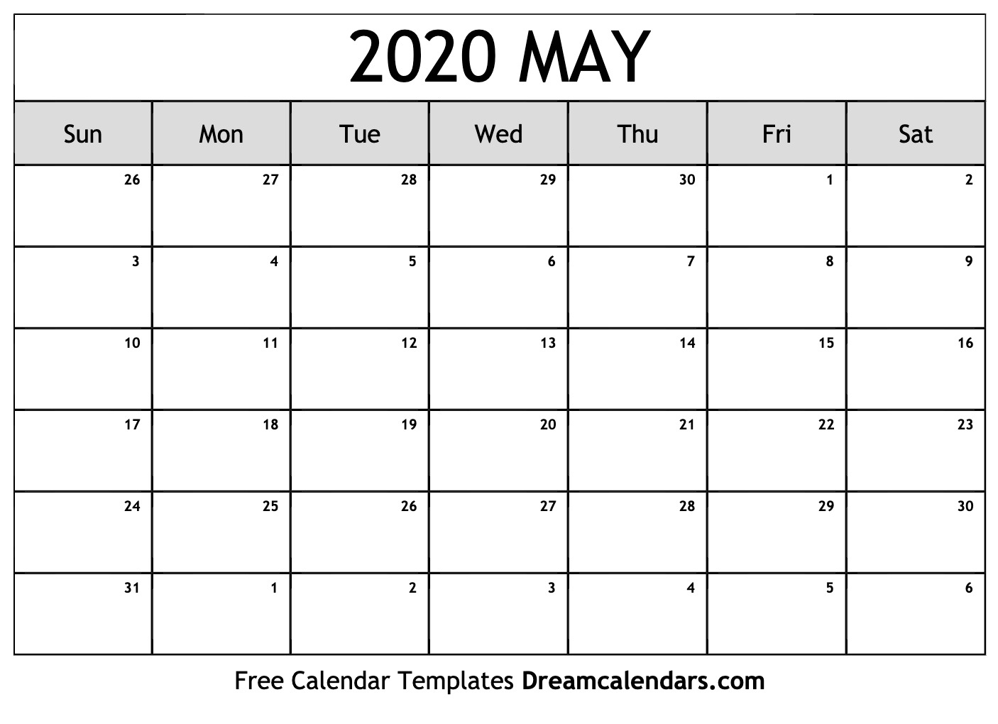 Printable May 2020 Calendar - Ko-Fi ❤️ Where Creators Get