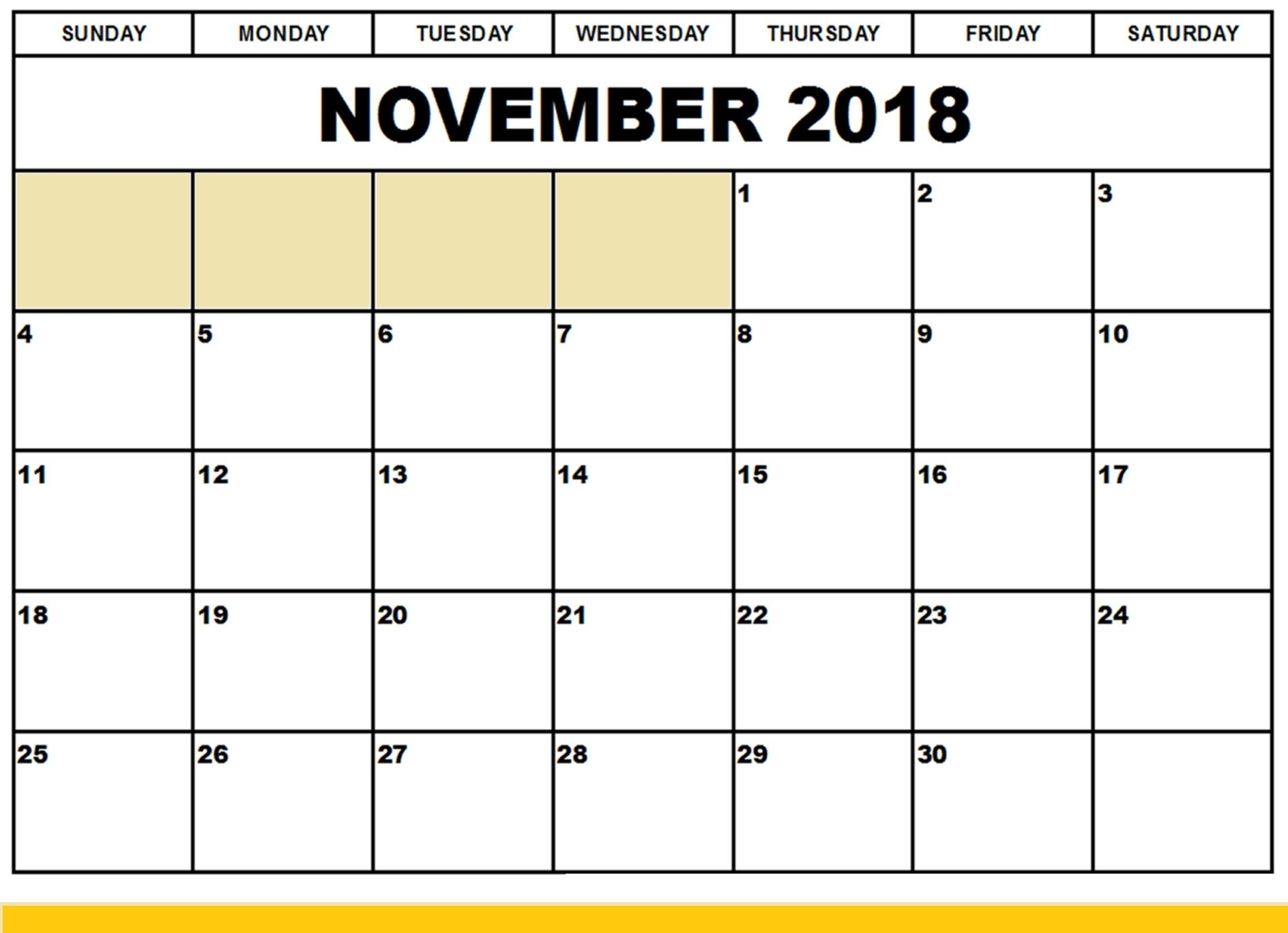 Printable November 2018 Calendar Large Print | November