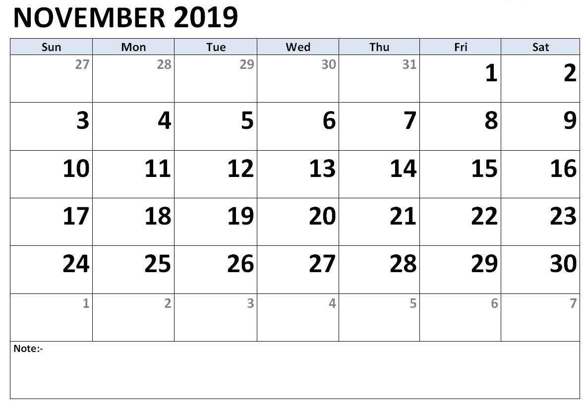 Printable November 2019 Calendar – Make Your Daily Work