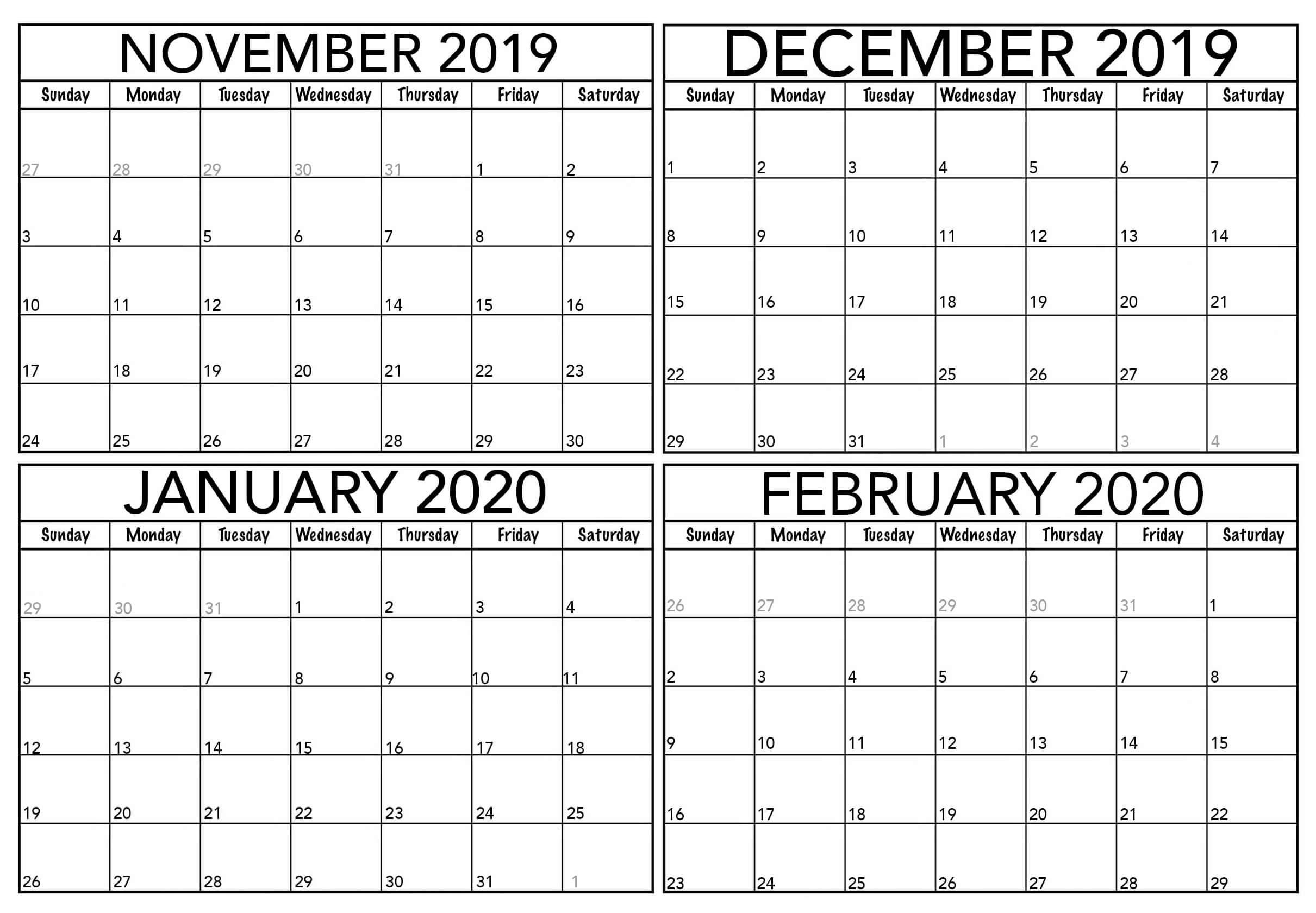 Printable November 2019 To February 2020 Calendar | Free