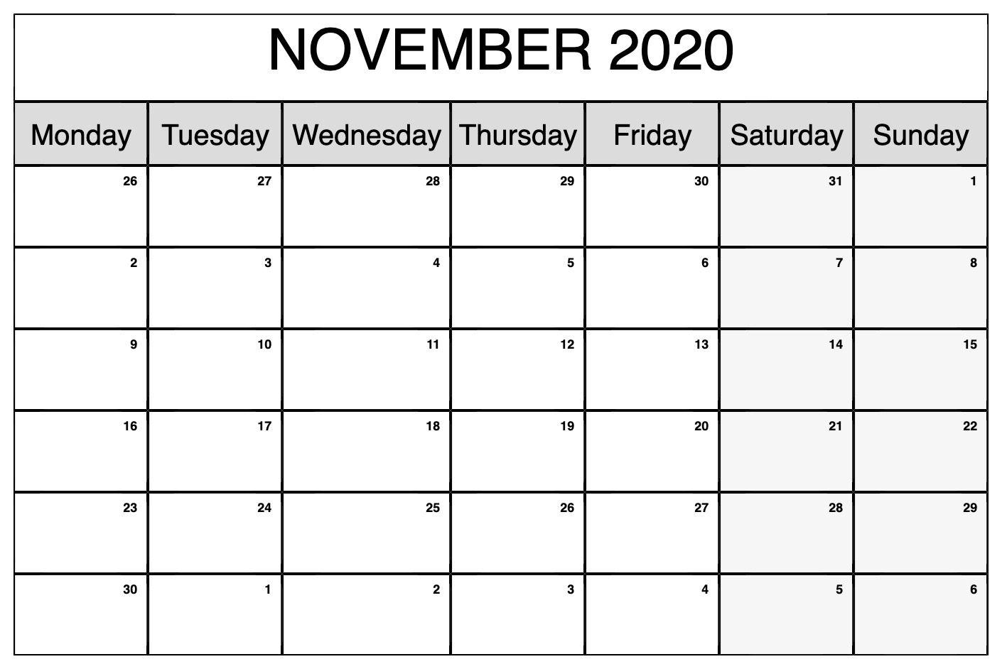 Printable November 2020 Calendar | Calendar, November
