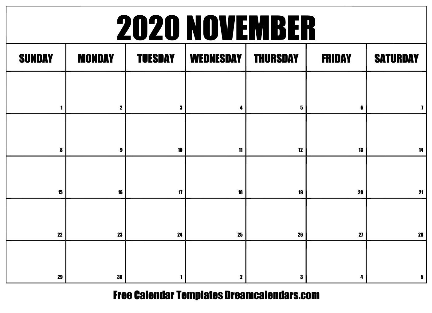 Printable November 2020 Calendar Templates - Helena Orstem