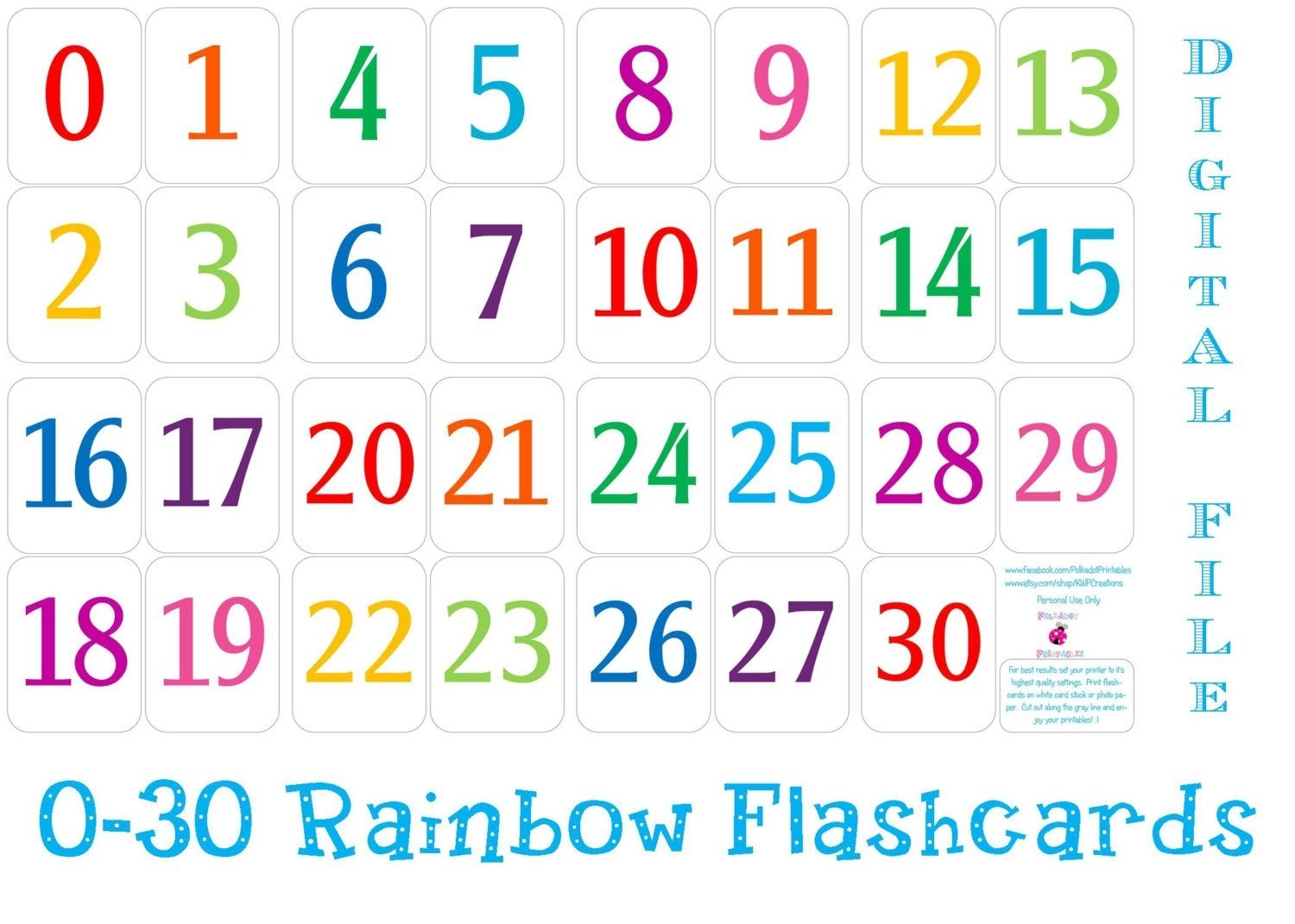 Printable Number Cards 1 30 | Free Printable Numbers, Number
