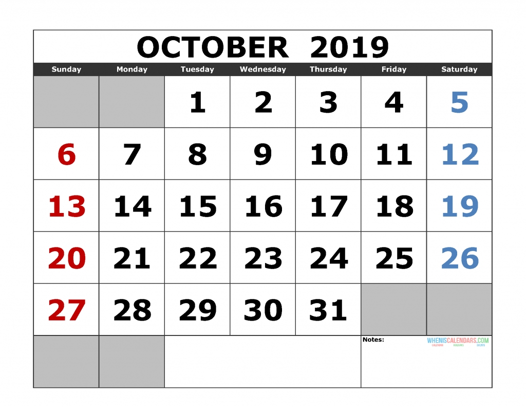 Printable October 2019 Calendar Template, Landscape Format