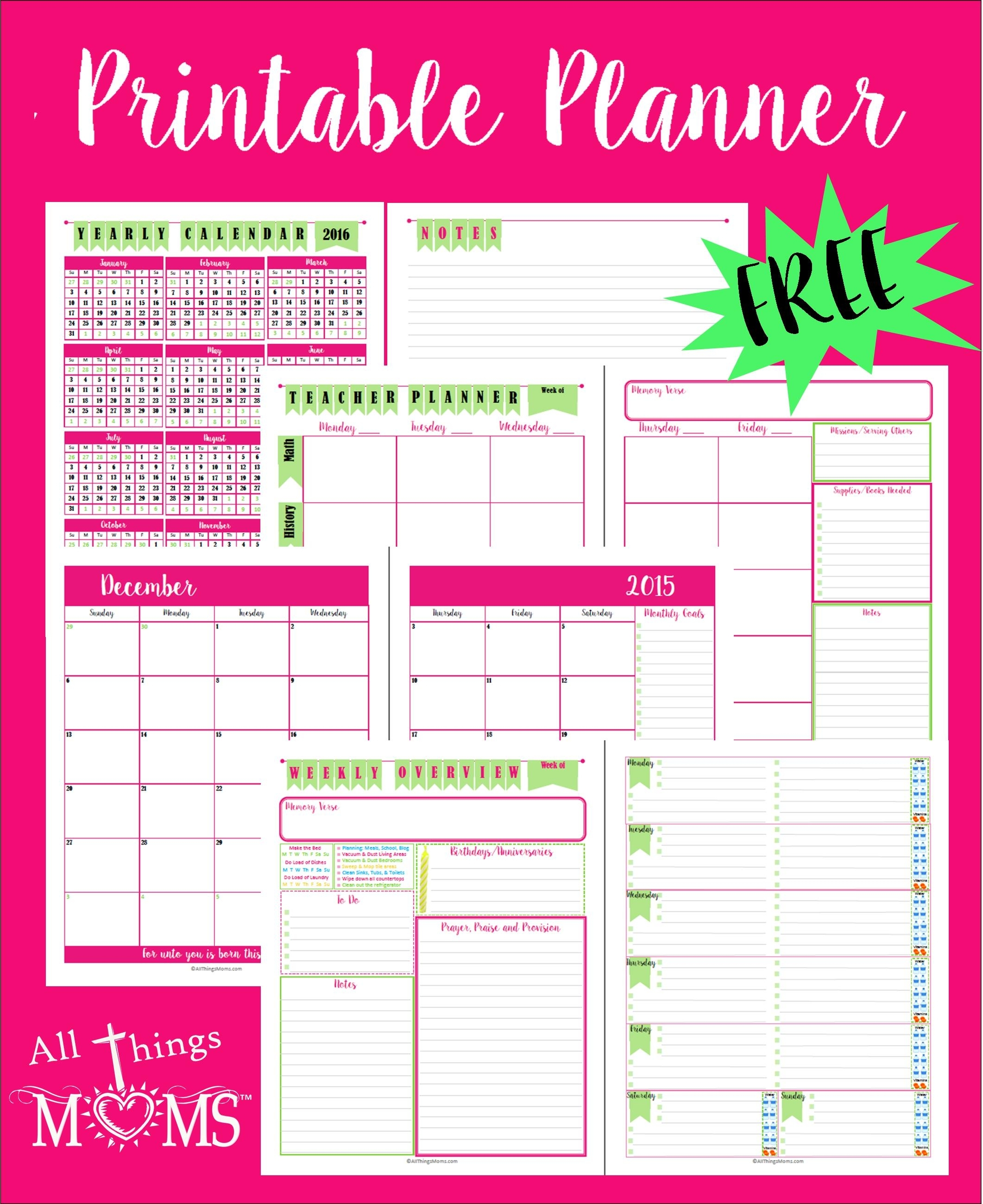 Printable Planner - All Things Moms