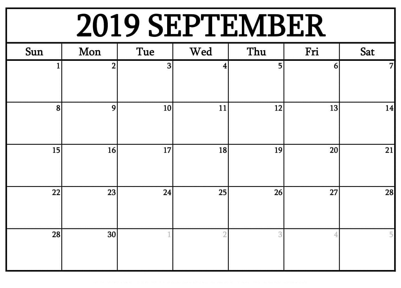 Printable September 2019 Blank Calendar Templates Free