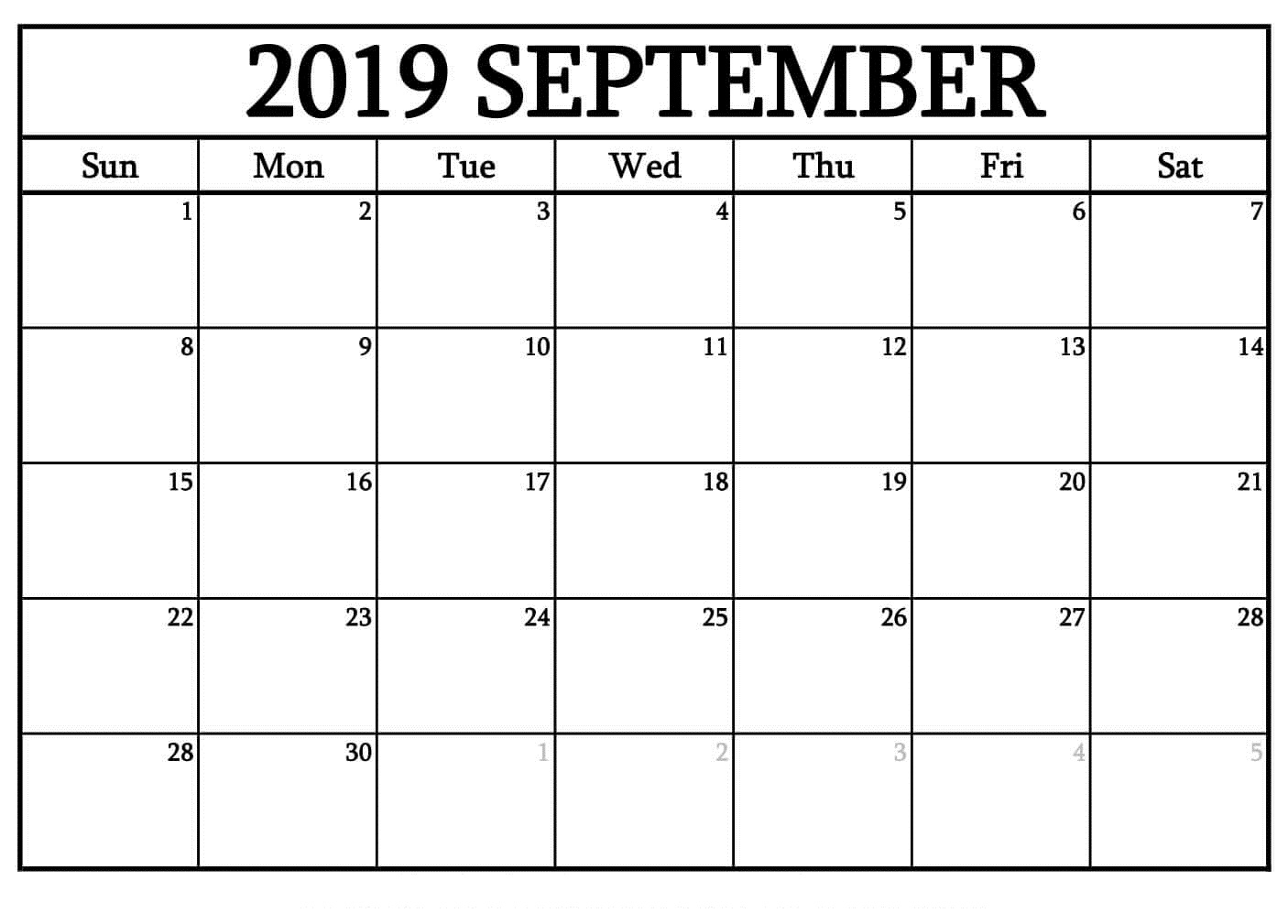 Printable September 2019 Blank Calendar Templates Free