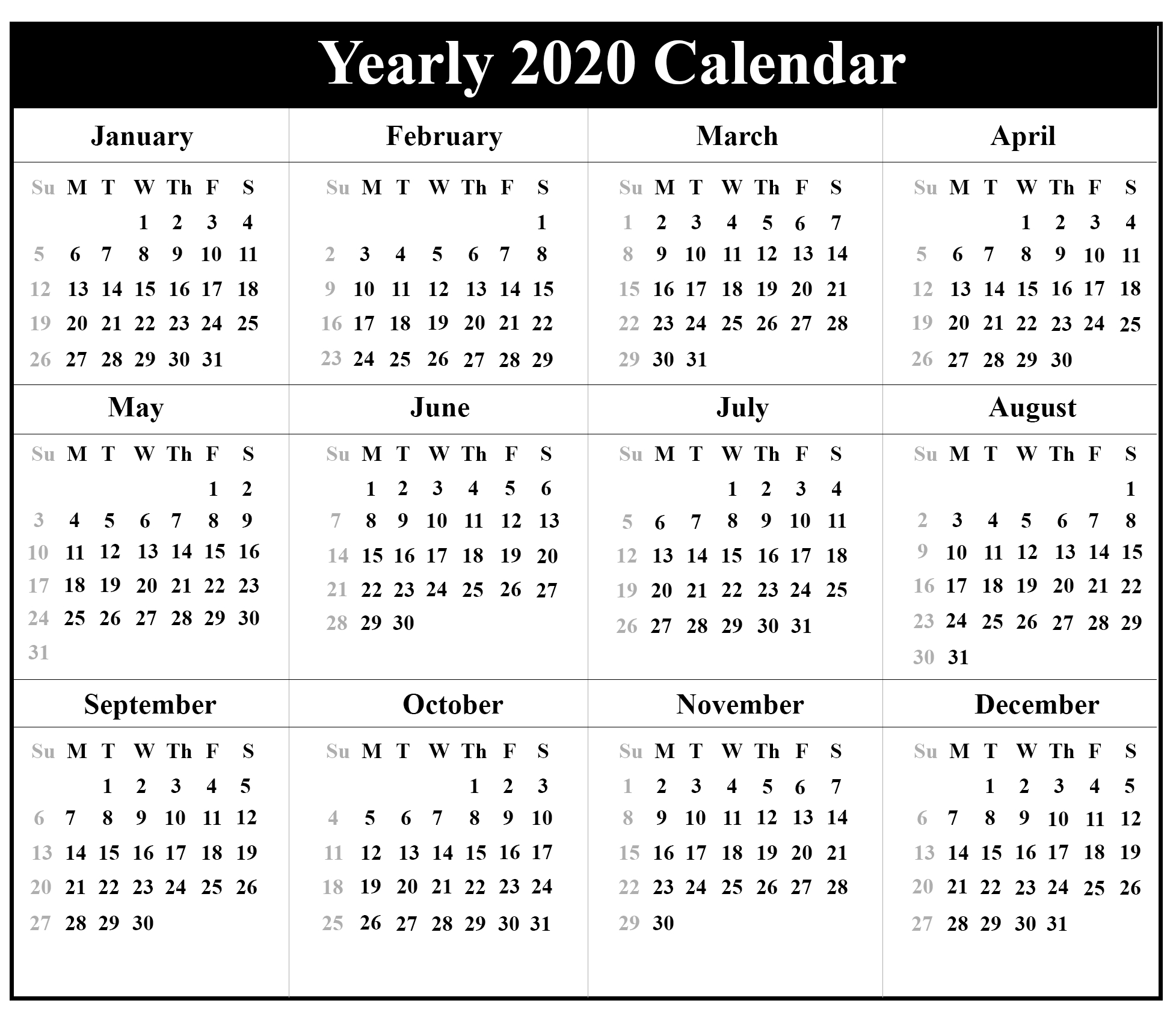 Printable Yearly Calendar 2020 Template With Holidays [Pdf