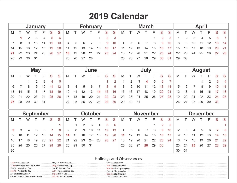 Printable Yearly Printable 2019 Calendar Pdf Template