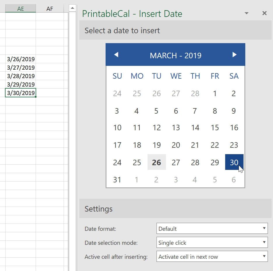 Printablecal | Insert A Date At The Current Cell Or Text