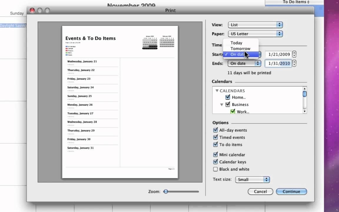 Printing Calendars From Ical In Mac Os X 10.6